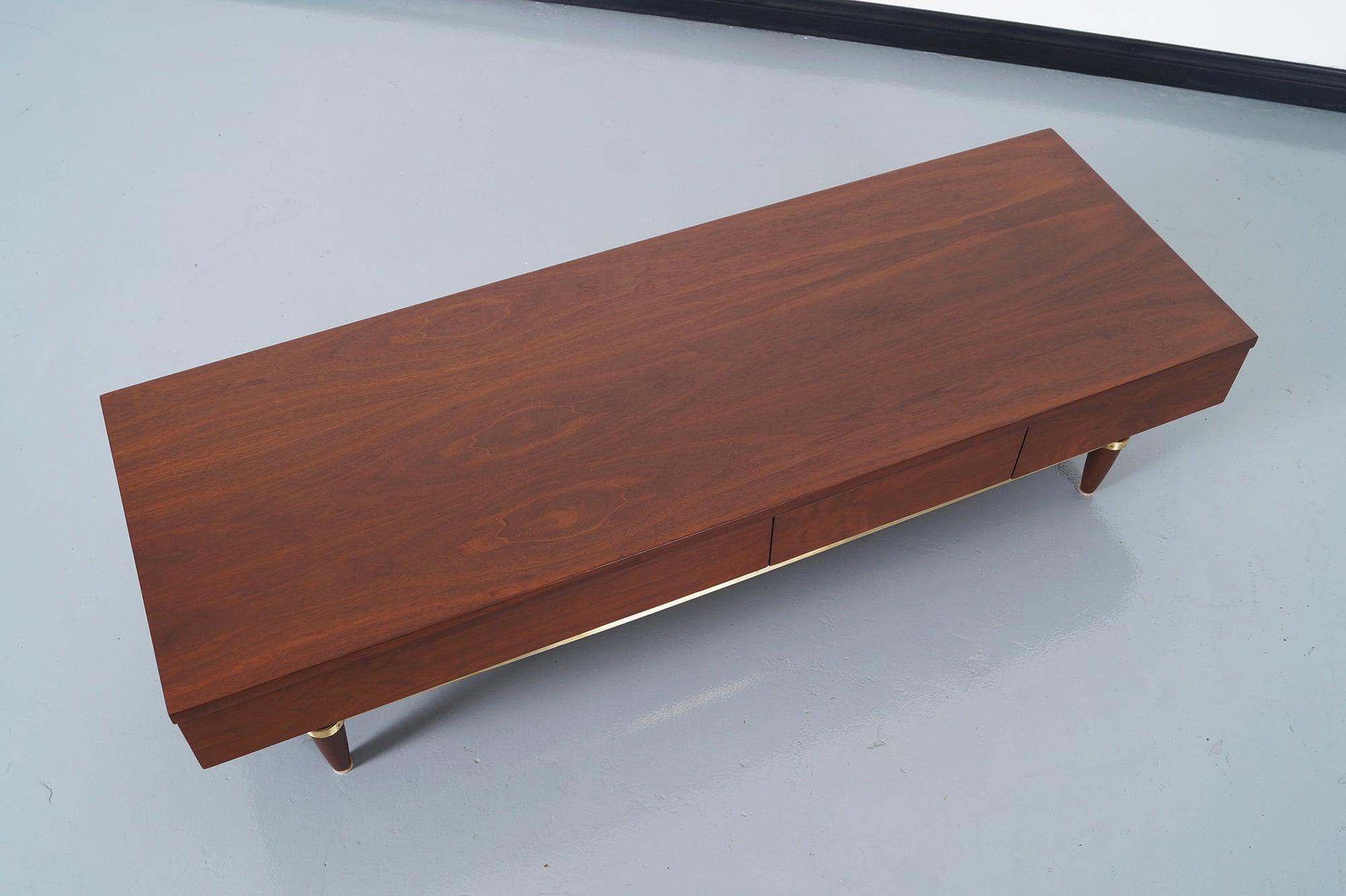American of Martinsville Walnut Bench by Merton Gershun