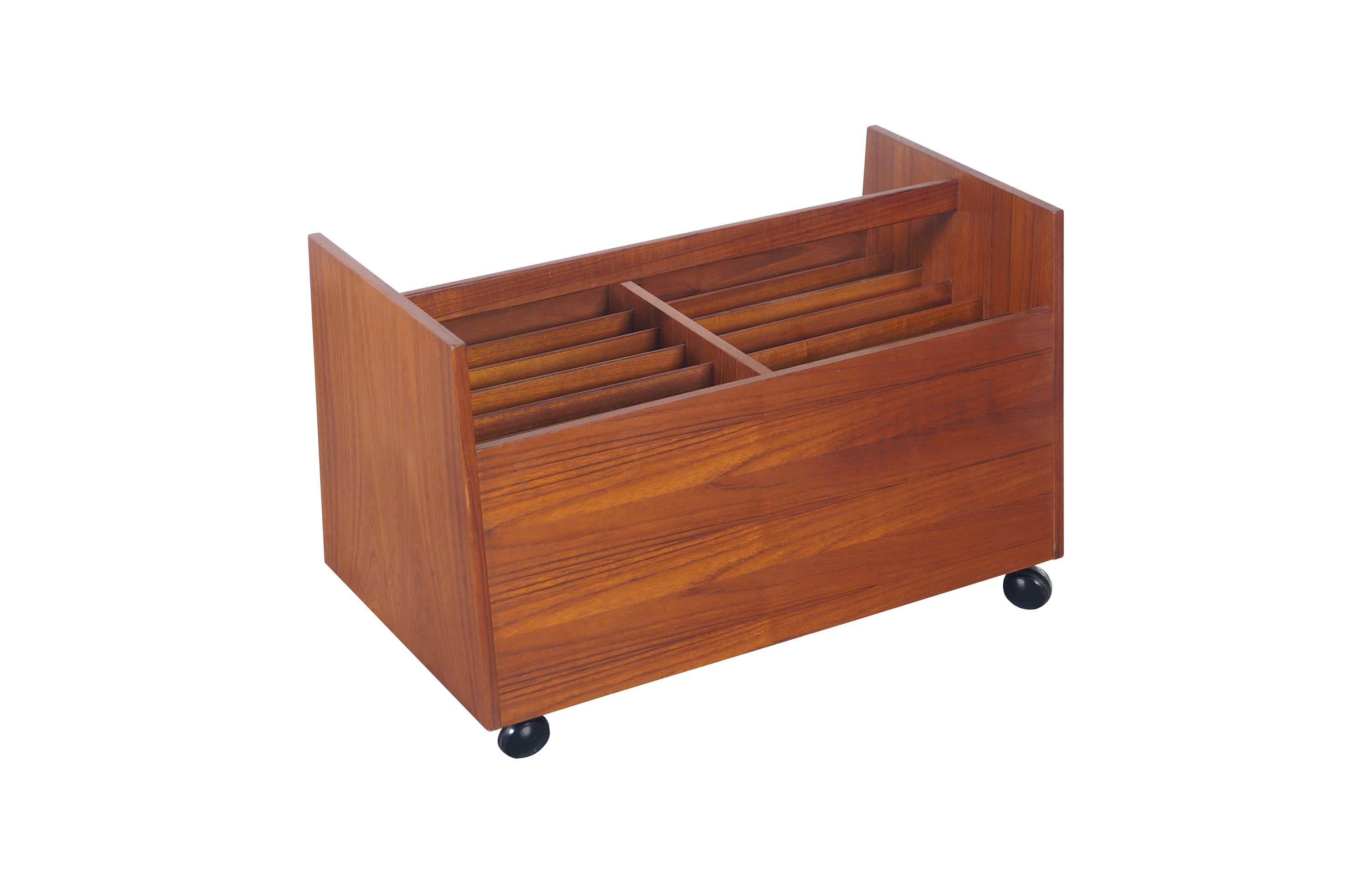 Danish Teak Rolling Magazine Stand by Rolf Hesland
