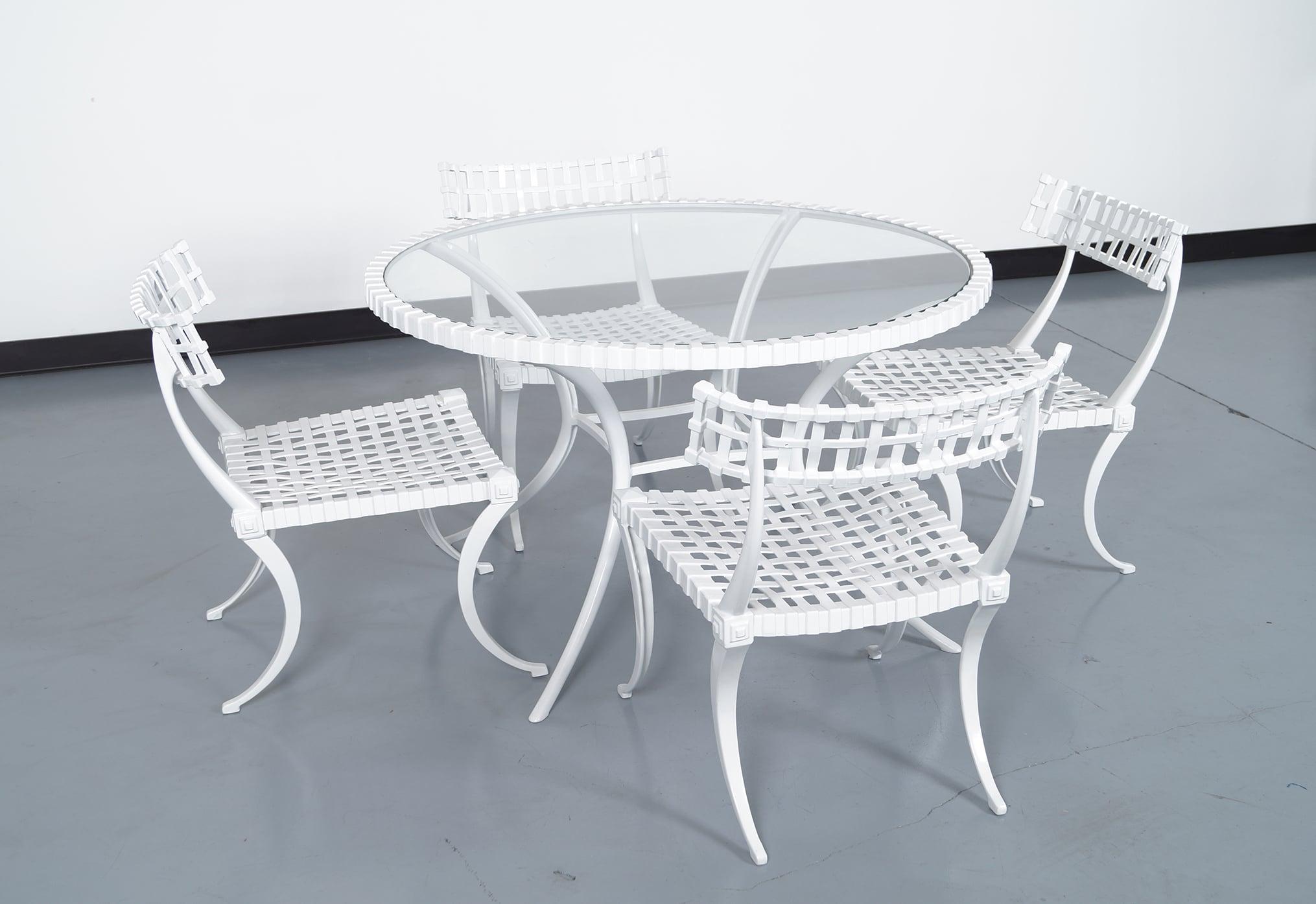 Vintage Cast Aluminum Klismos Dining Set by Thinline