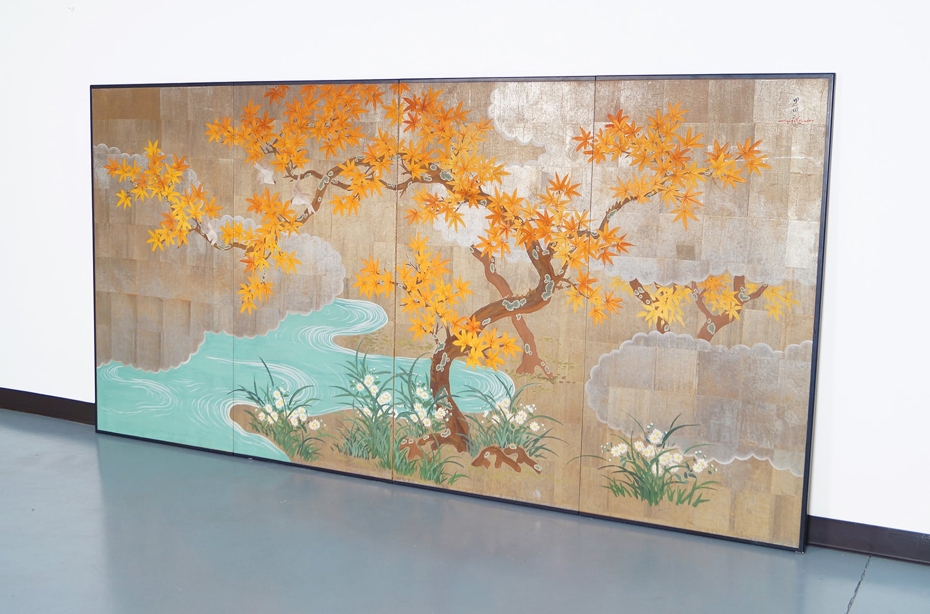 Vintage Hand Painted Screen Panels by Robert Crowder