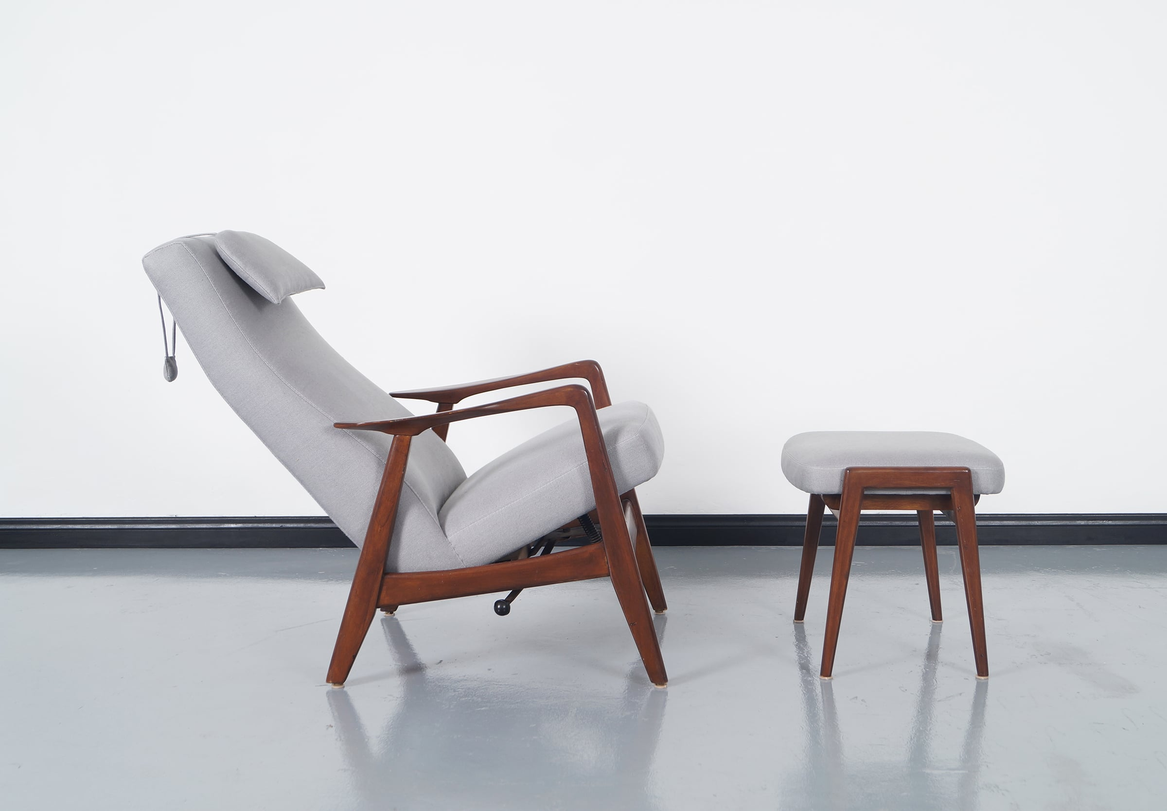 Vintage Reclining Lounge Chair & Ottoman by Folke Ohlsson for Dux