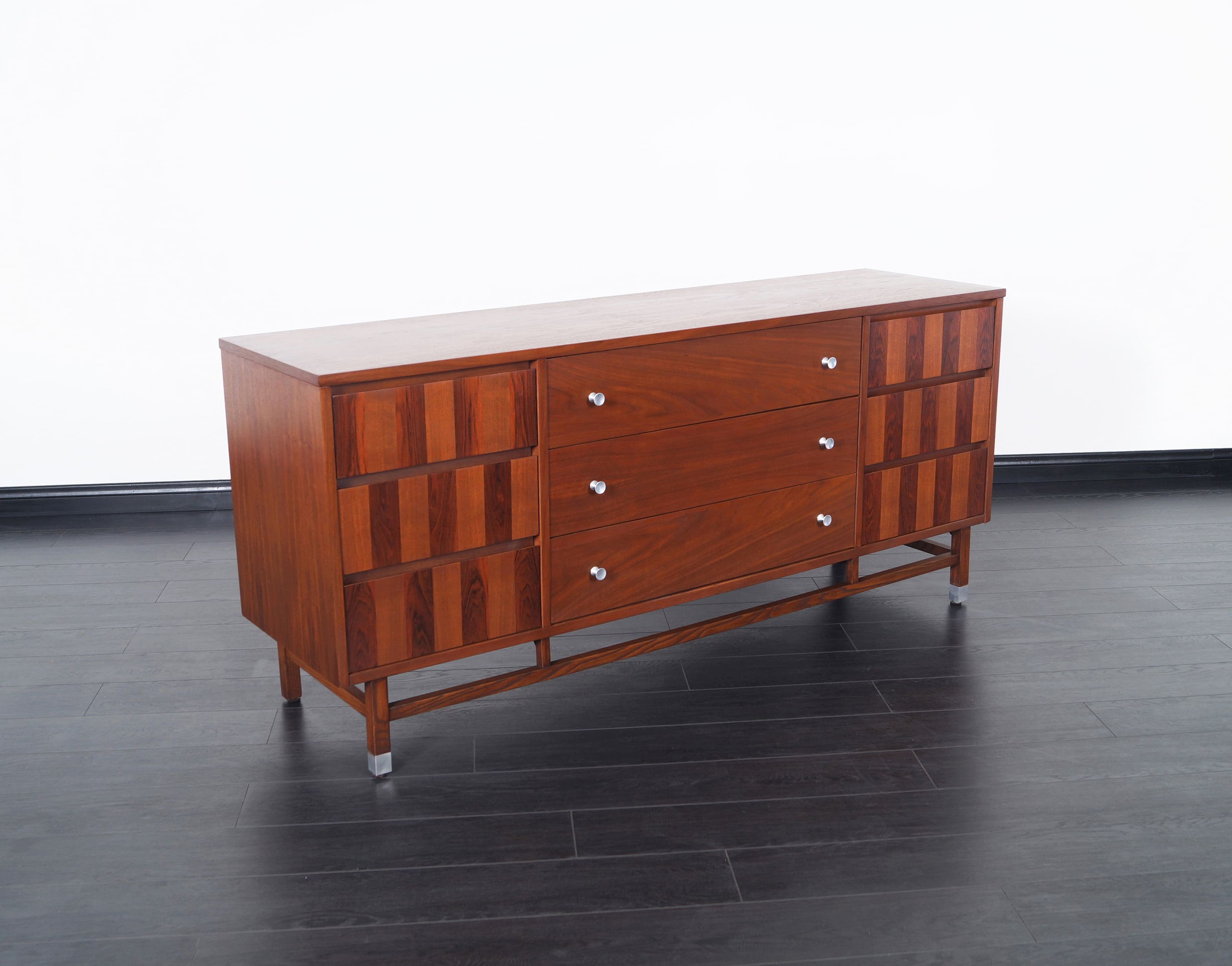 Mid Century Walnut & Rosewood Dresser by Stanley