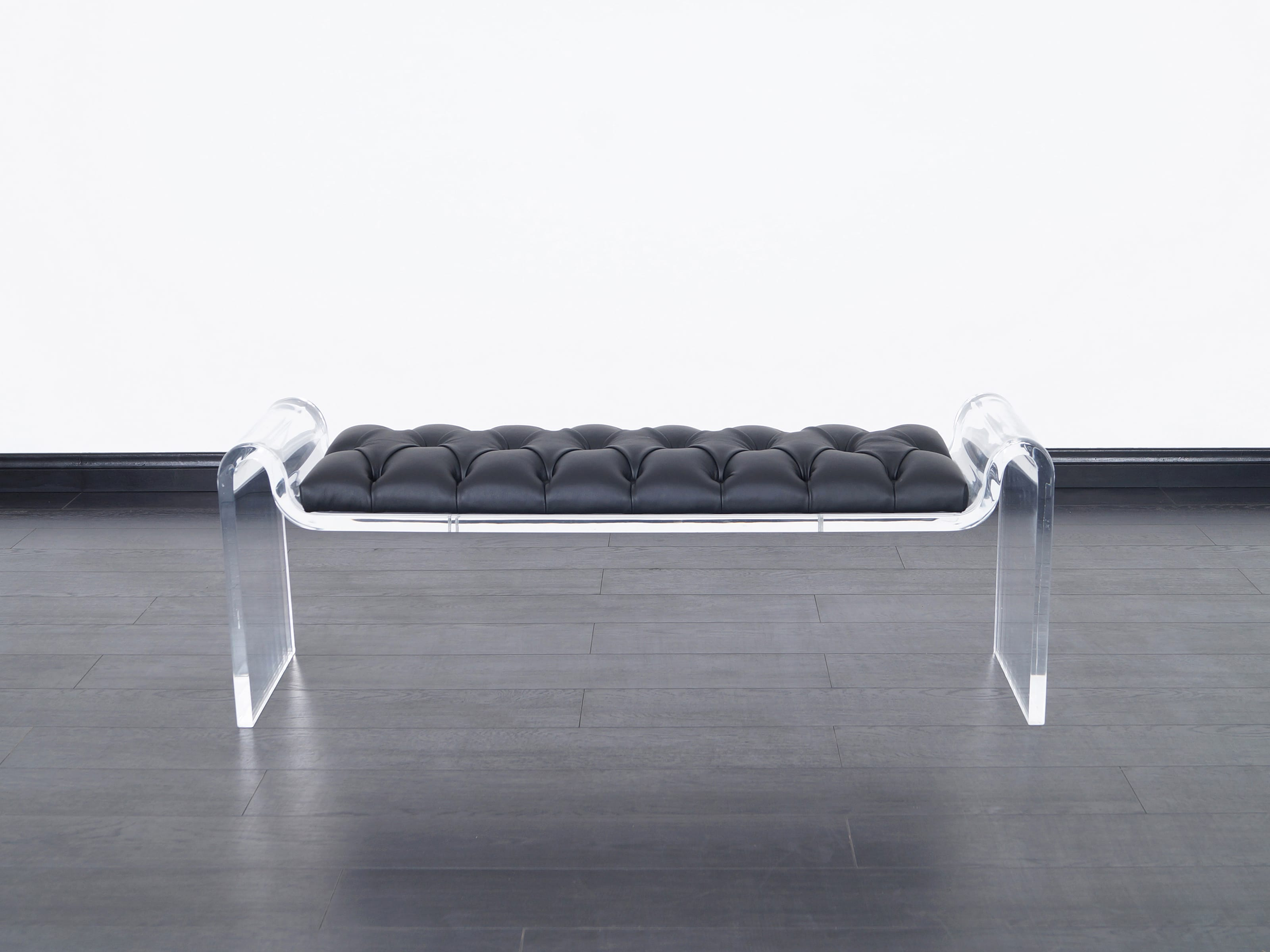 Sculptural Lucite & Leather Bench