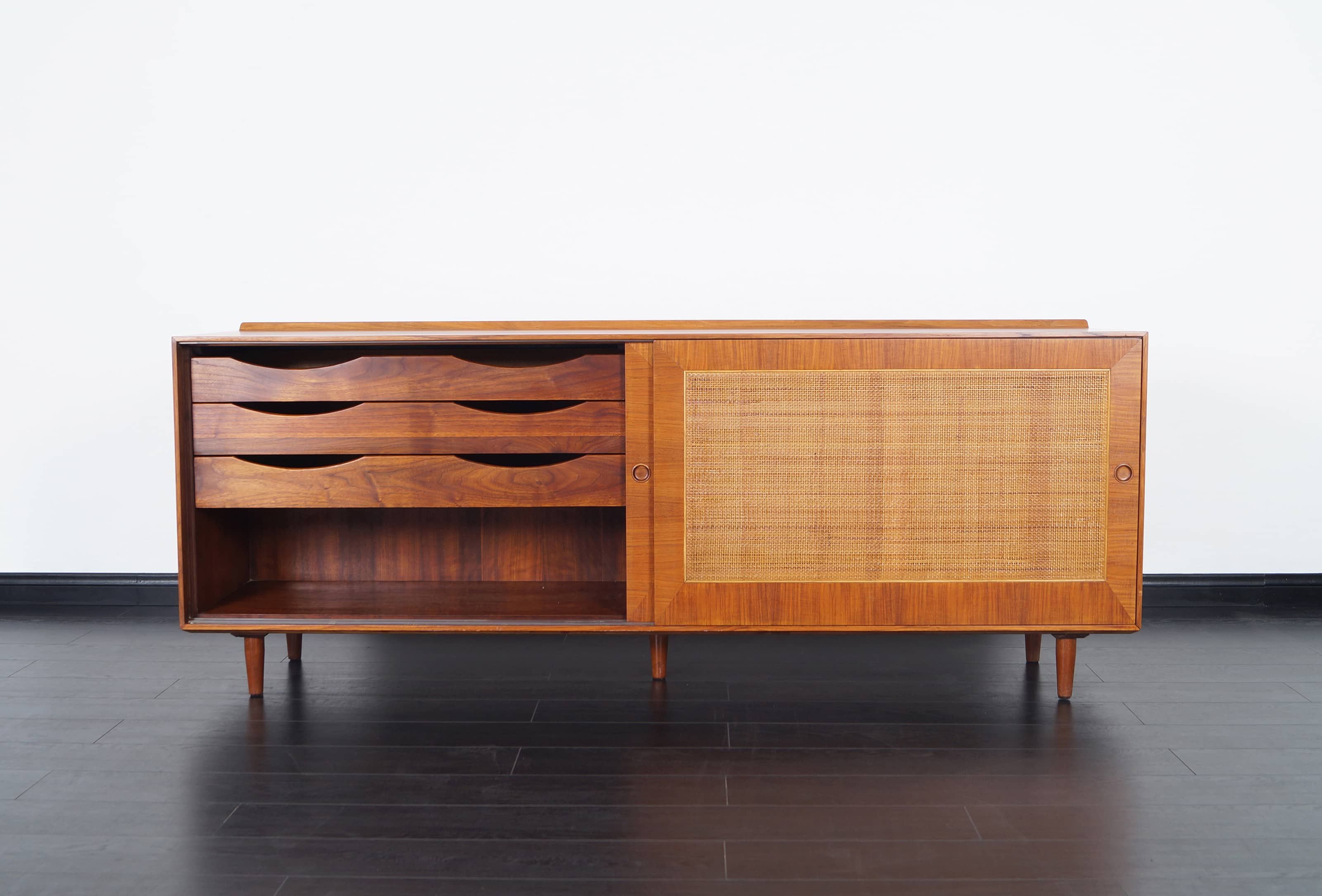 Vintage Cane Front Credenza by Finn Juhl
