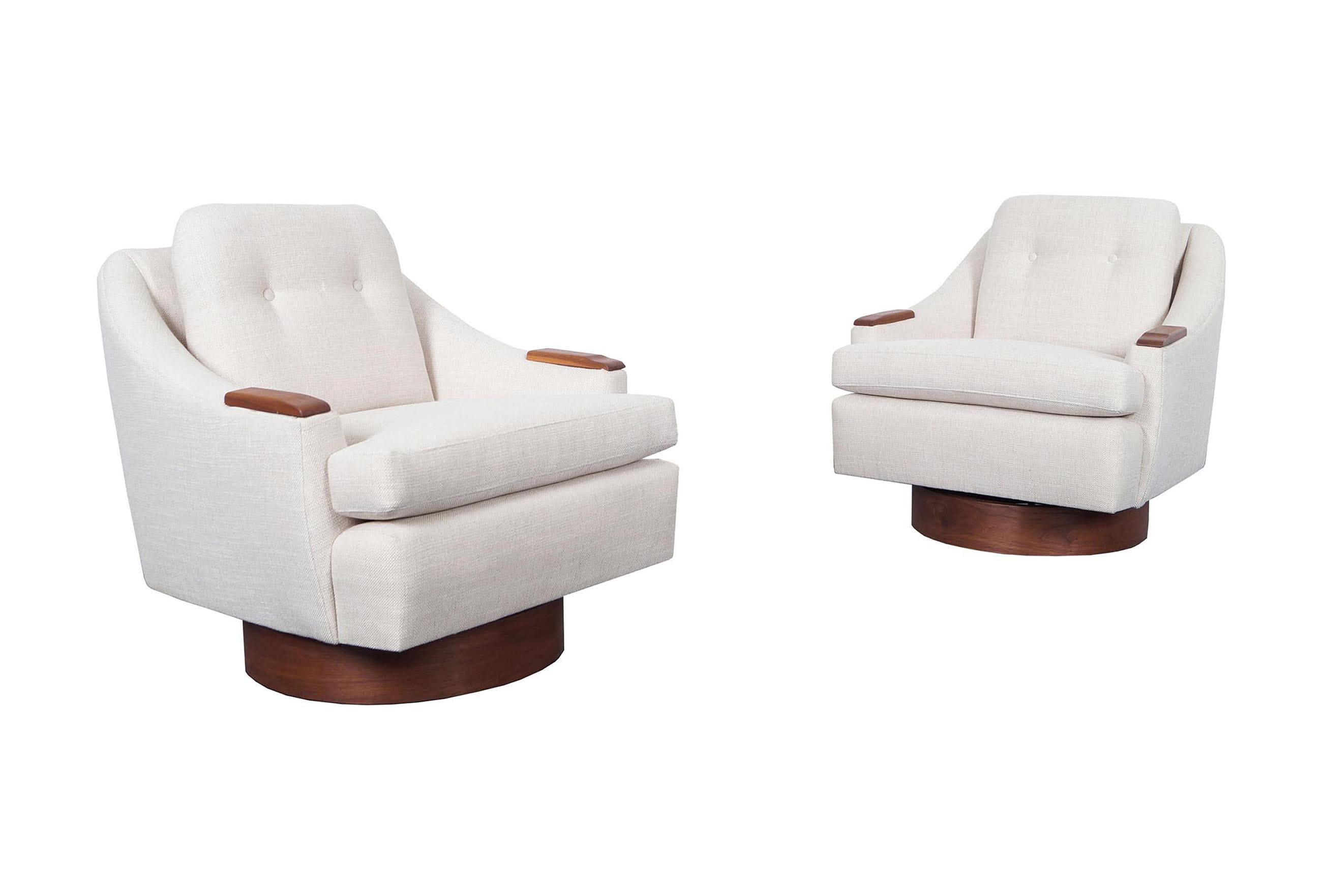 Mid Century Walnut Swivel Lounge Chairs