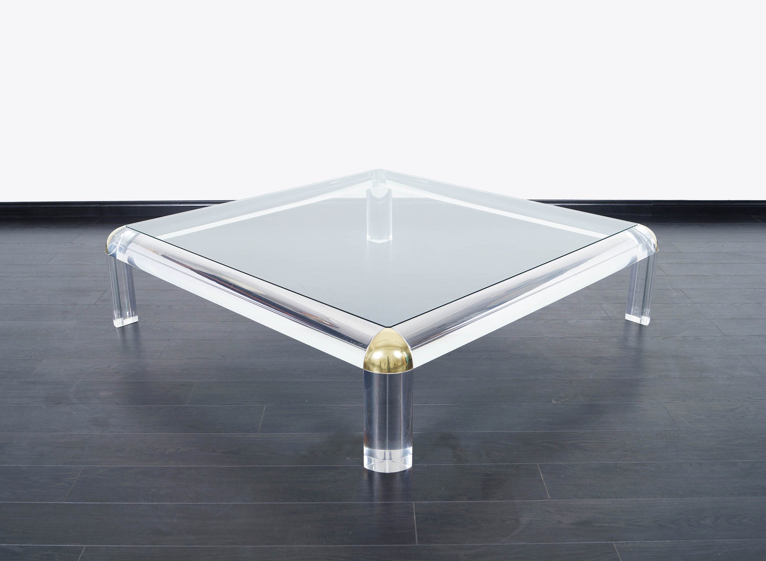 Monumental Lucite & Brass Coffee Table
