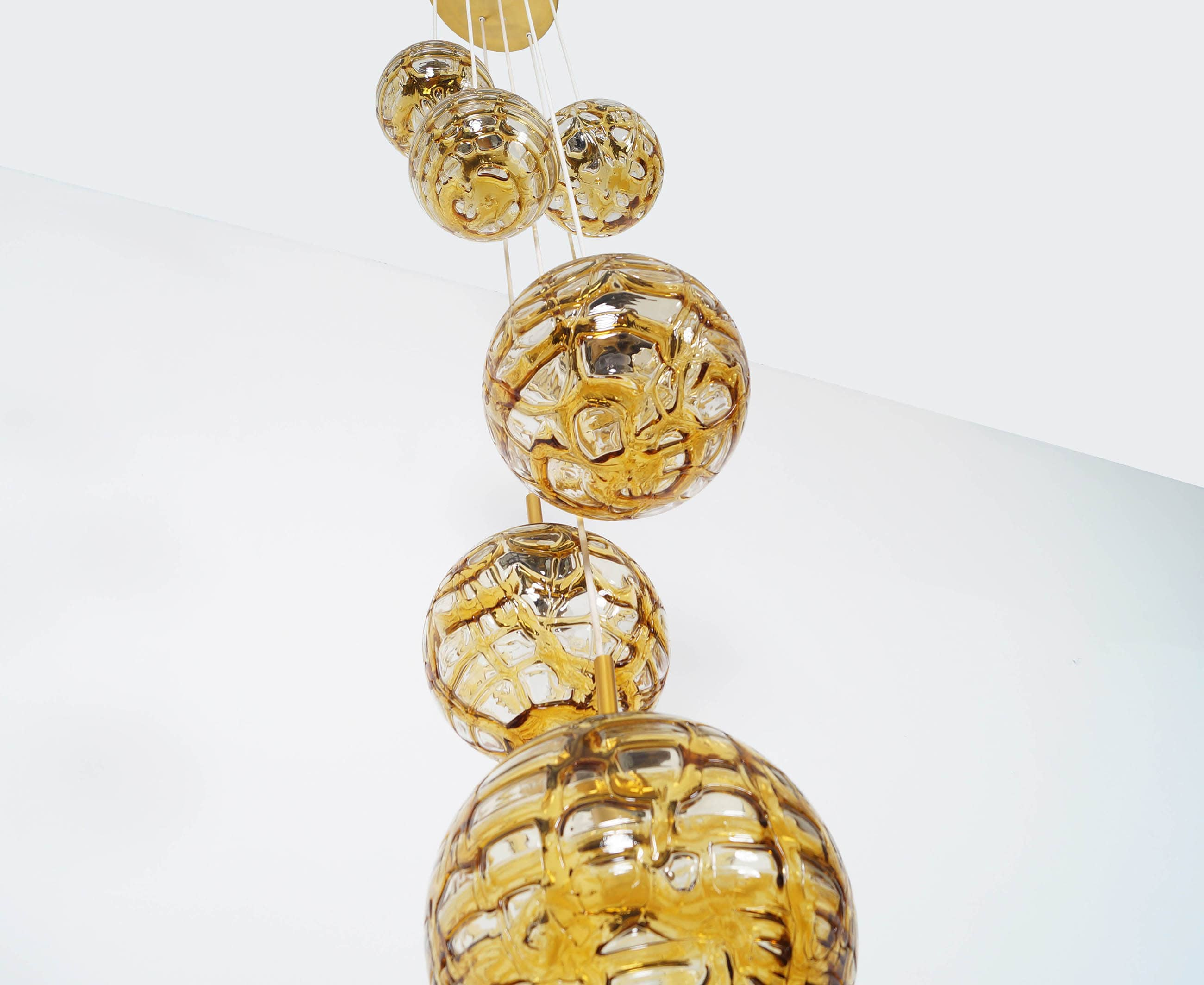 Vintage Amber Glass Globes Chandelier by Doria