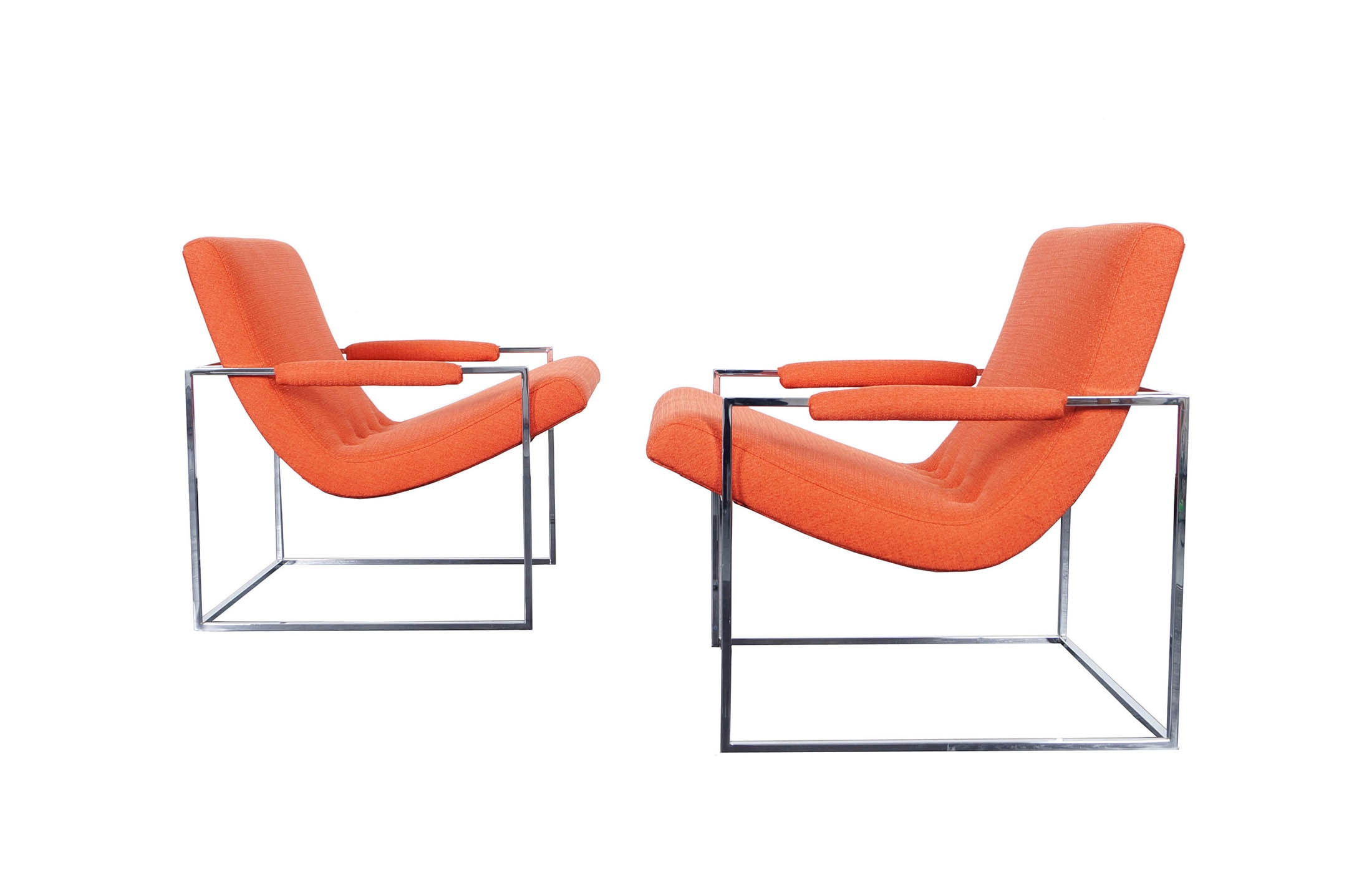 Vintage Chrome Lounge Chairs by Milo Baughman