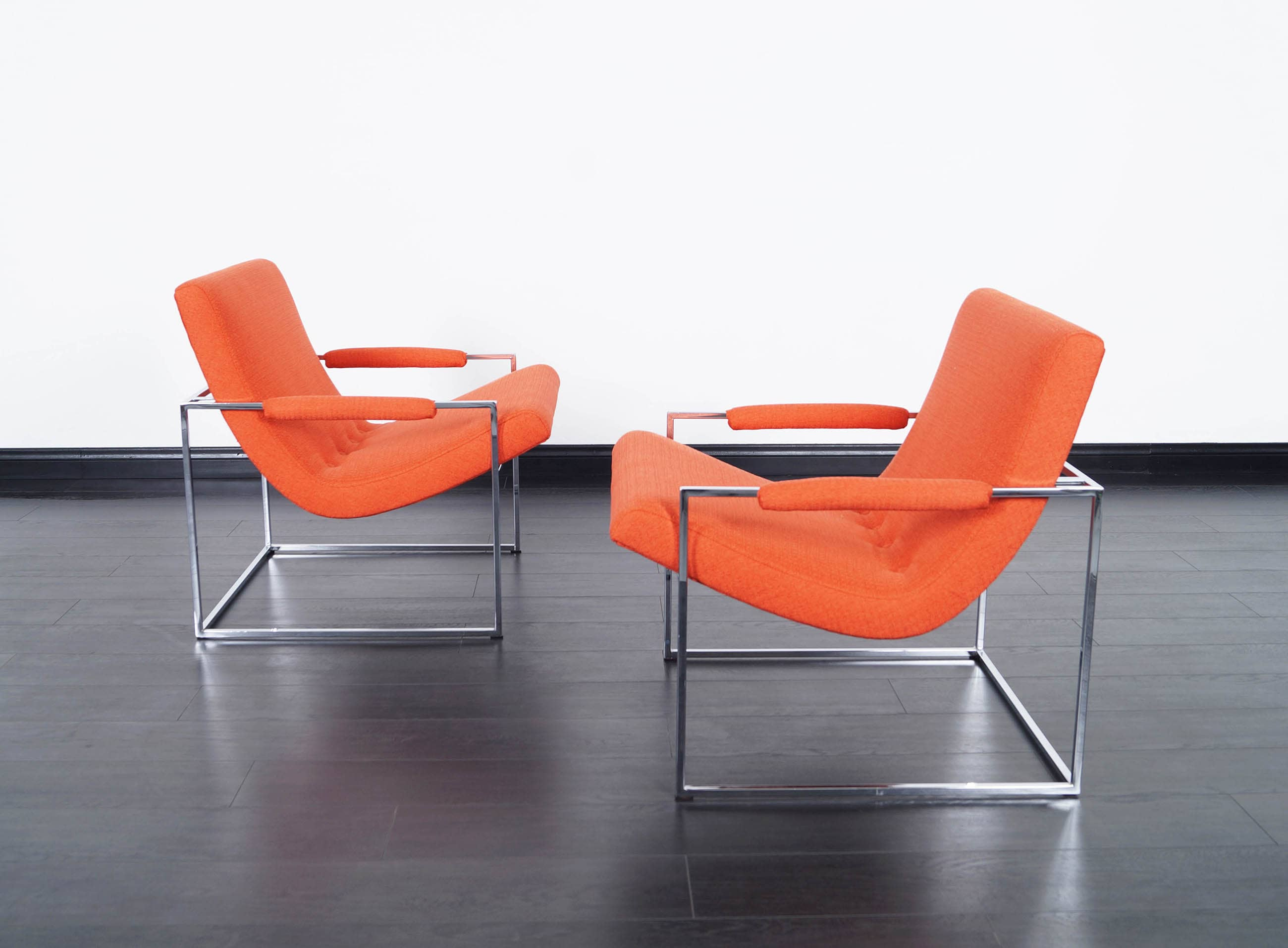 Vintage Chrome Lounge Chairs by Milo Baughman