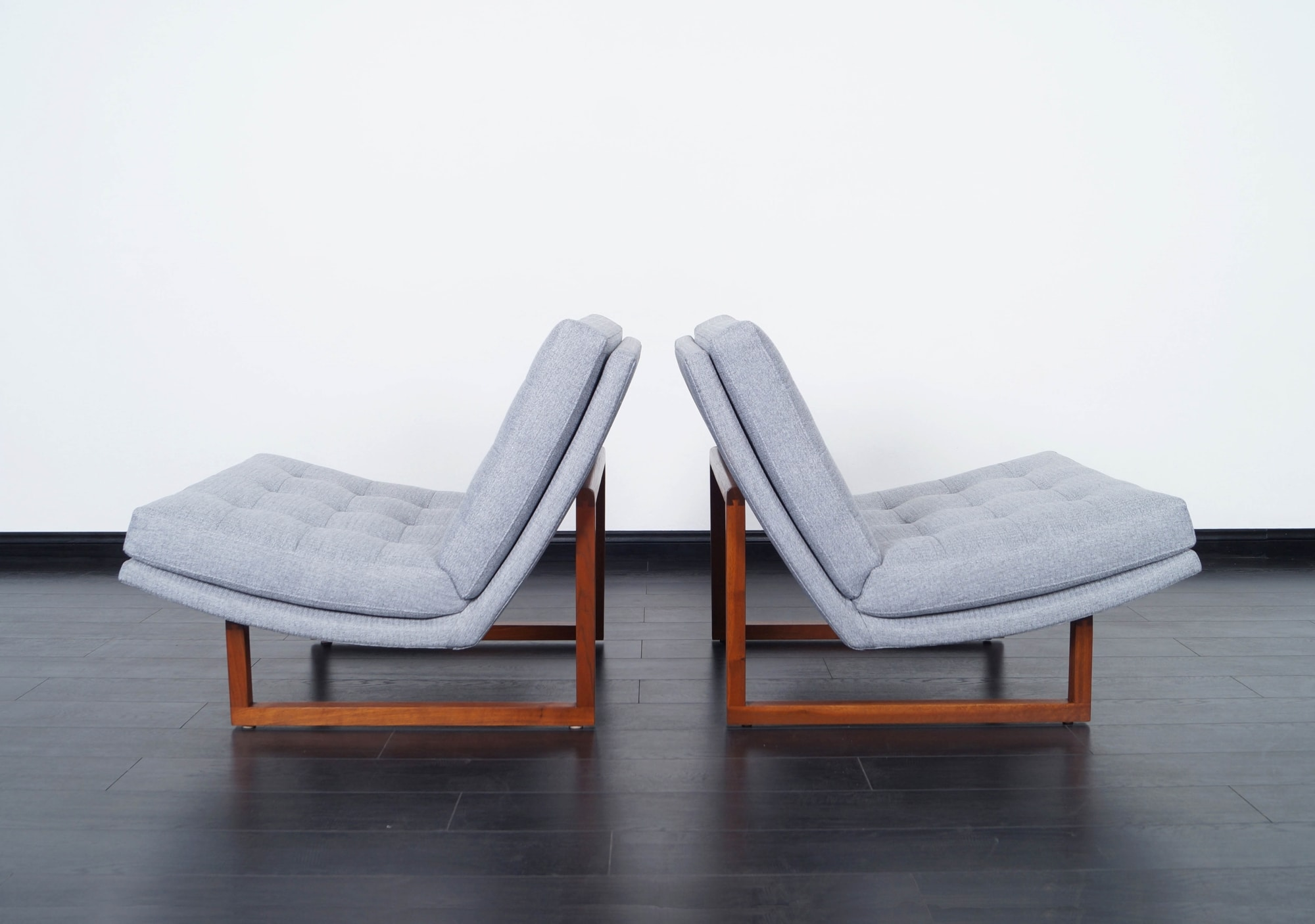 Vintage Tufted Walnut Lounge Chairs by Milo Baughman