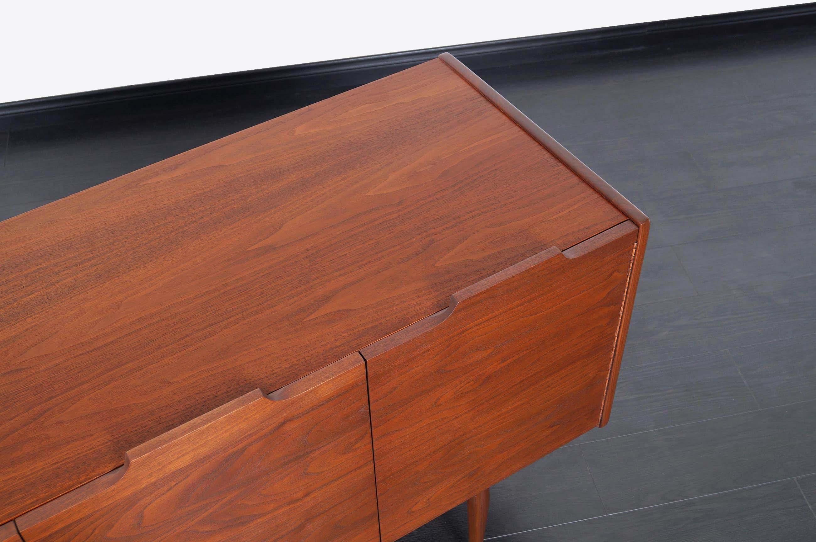 Vintage Walnut Bi-Folding Doors Credenza by John Caldwell for Brown Saltman