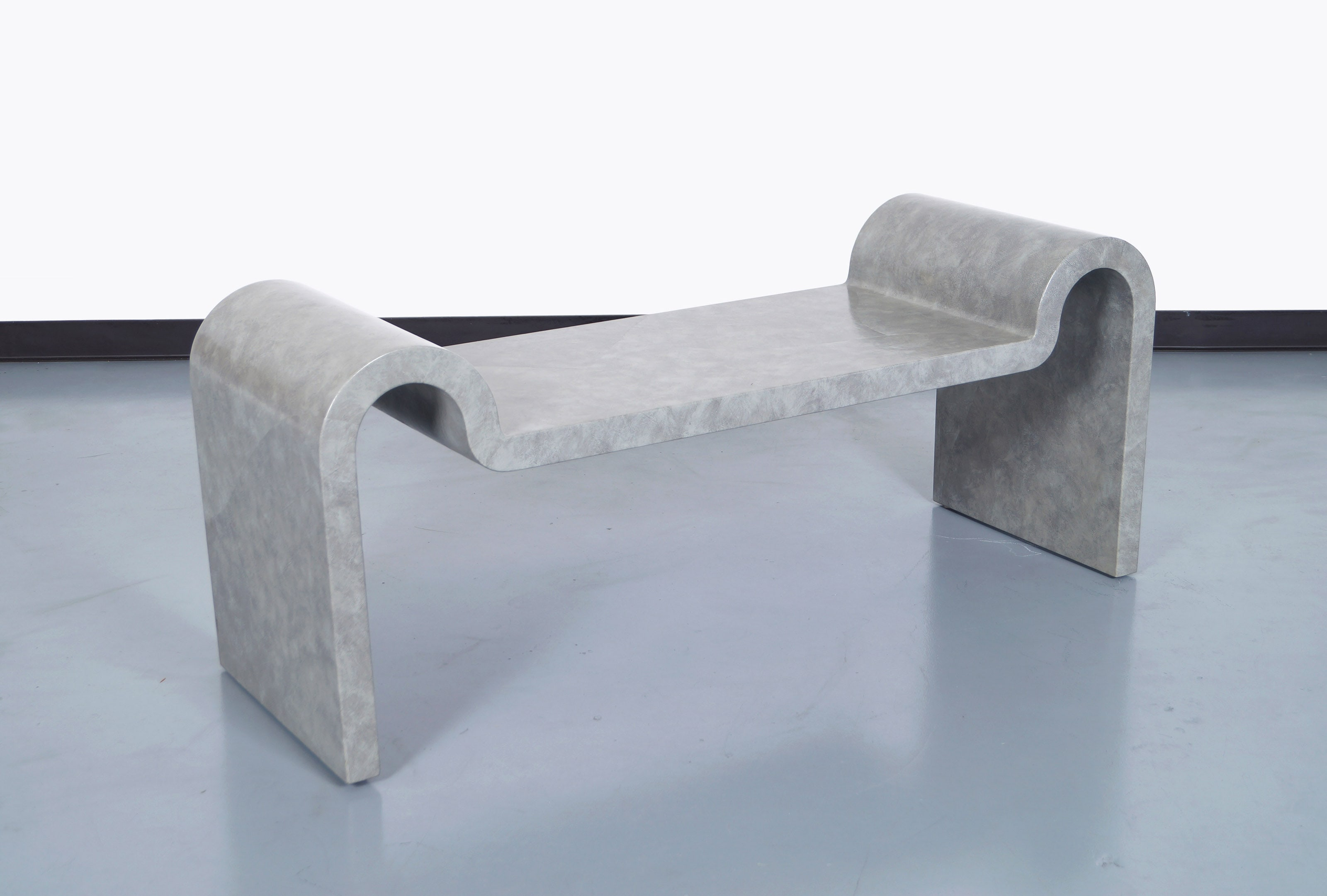 Architectural Leather Bench by Karl Springer