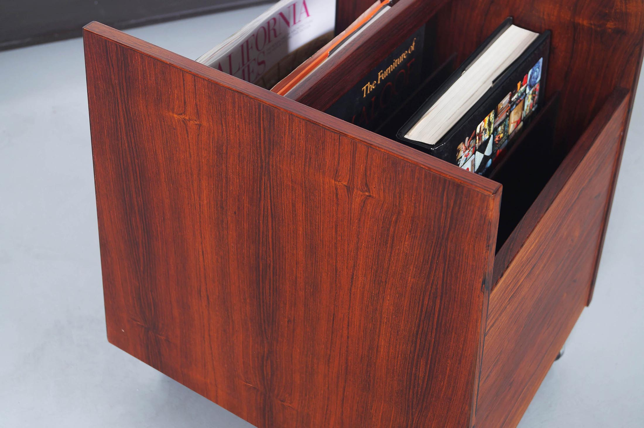 Danish Rosewood Rolling Magazine Stand by Rolf Hesland
