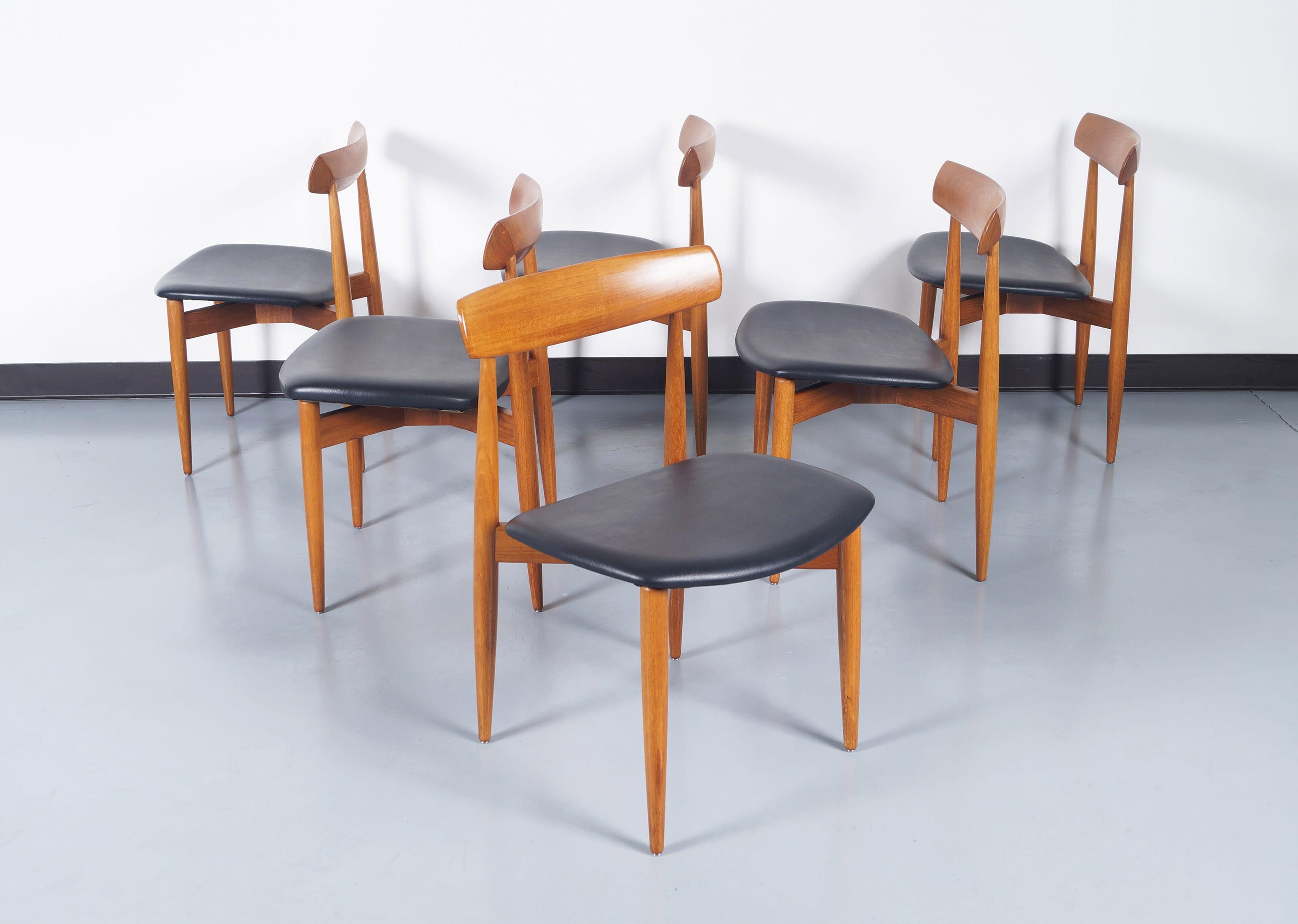 Danish Modern Teak Dining Chairs by H.W. Klein