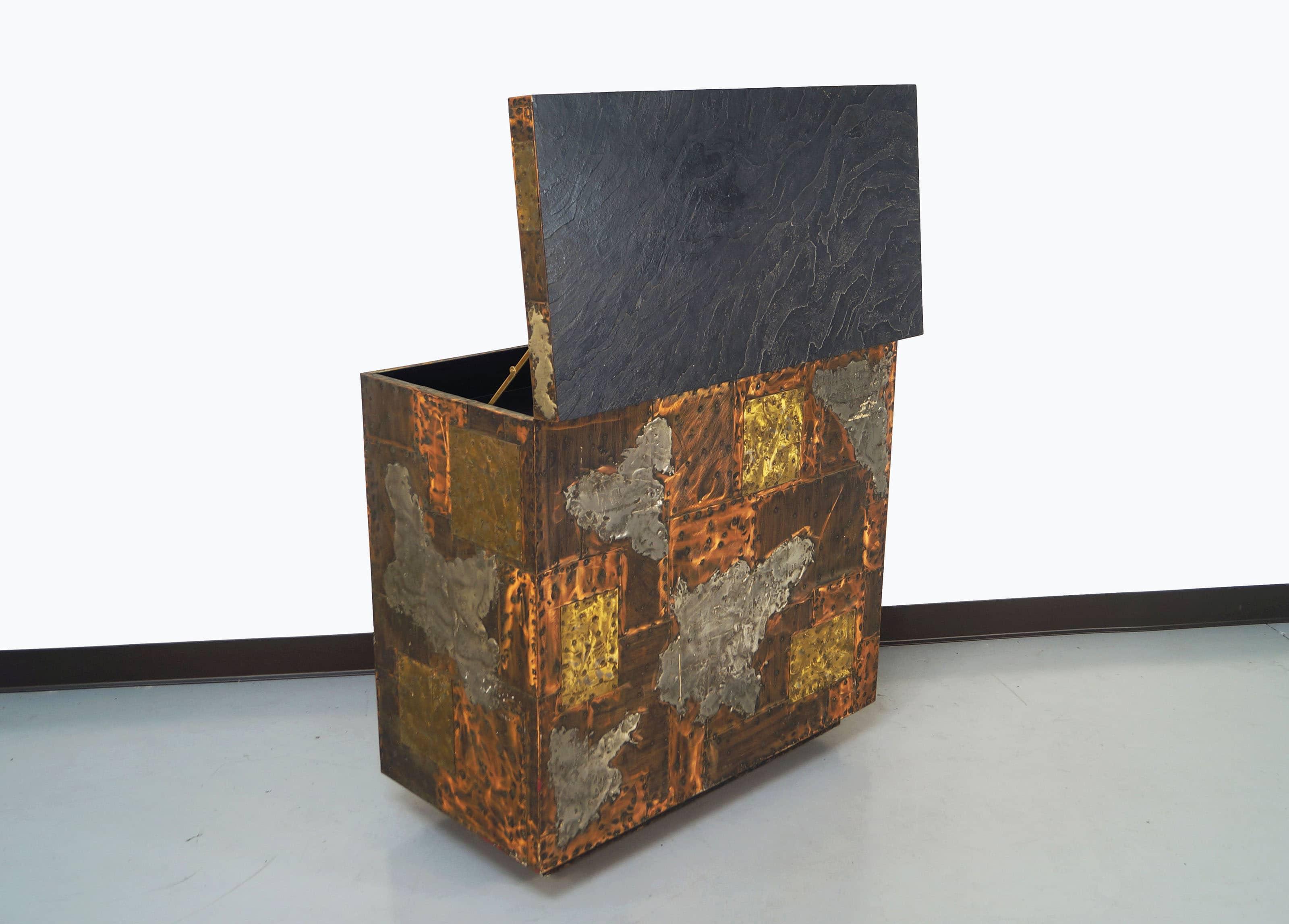 Exceptional Patchwork Flip- Top Bar Cabinet by Paul Evans