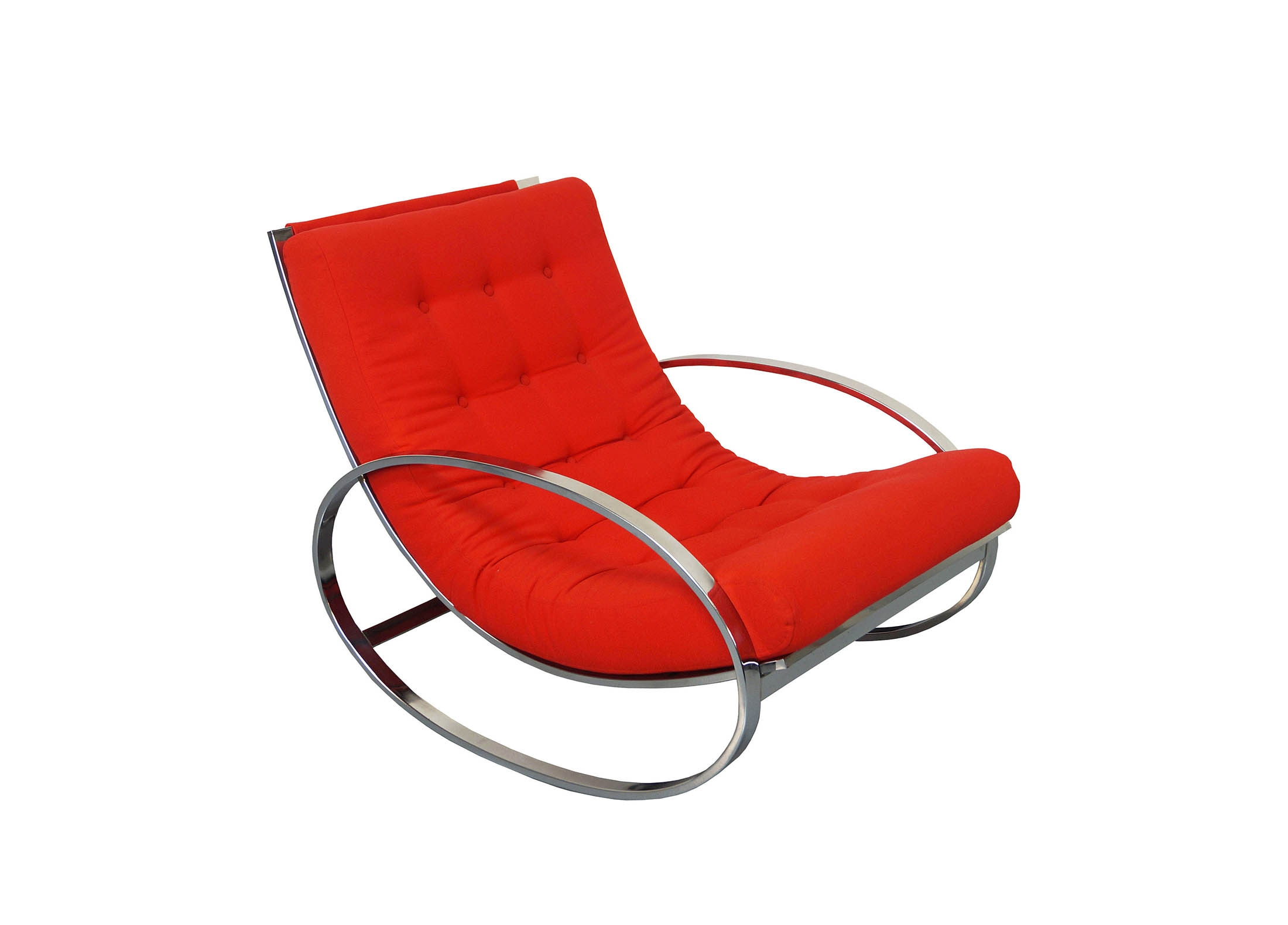 Vintage Chrome Rocking Chair by Renato Zevi