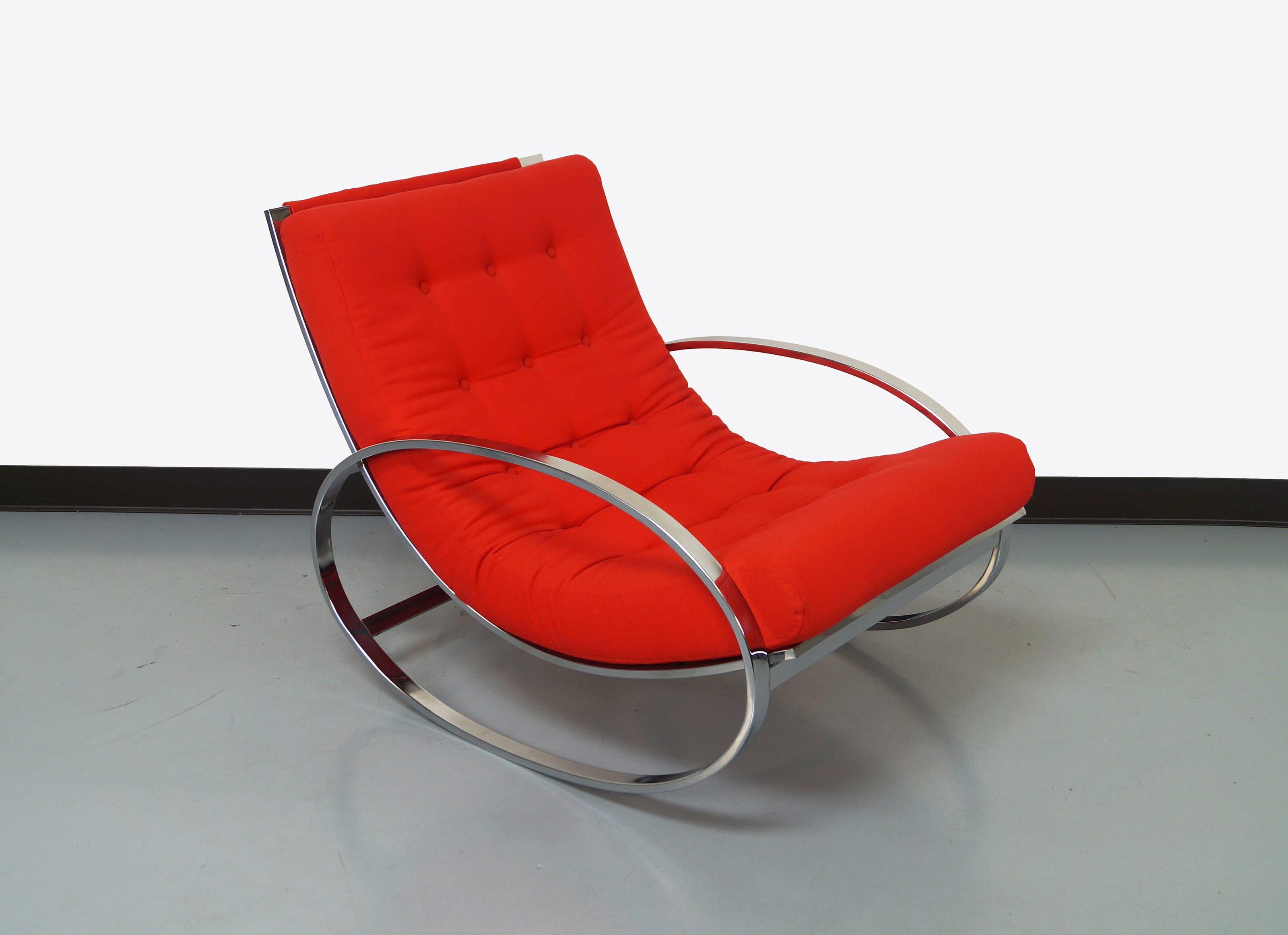 Vintage Chrome Rocking Chair by Renato Zevi