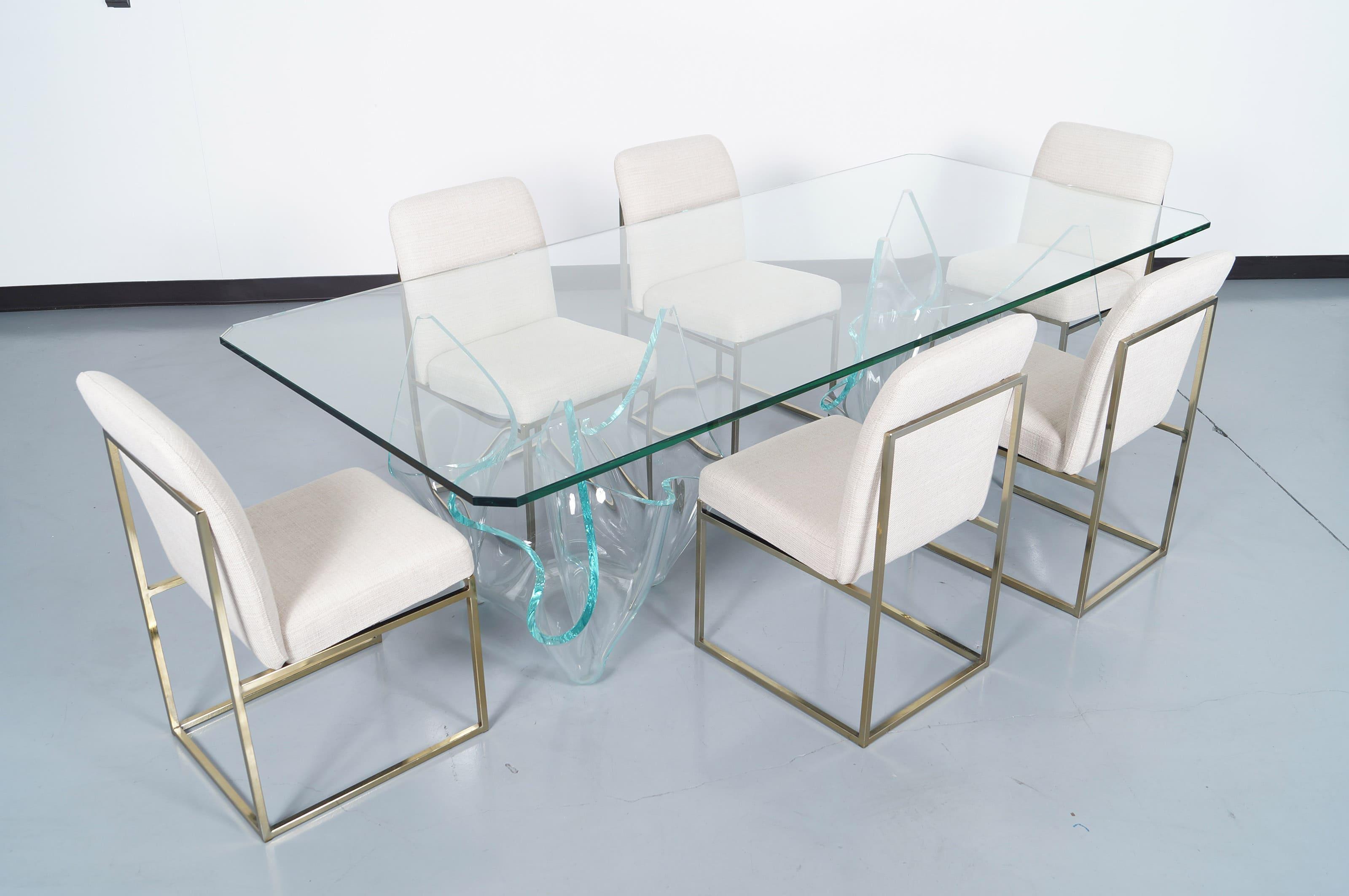 Vintage Sculptural Glass Dining Table by Laurel Fyfe