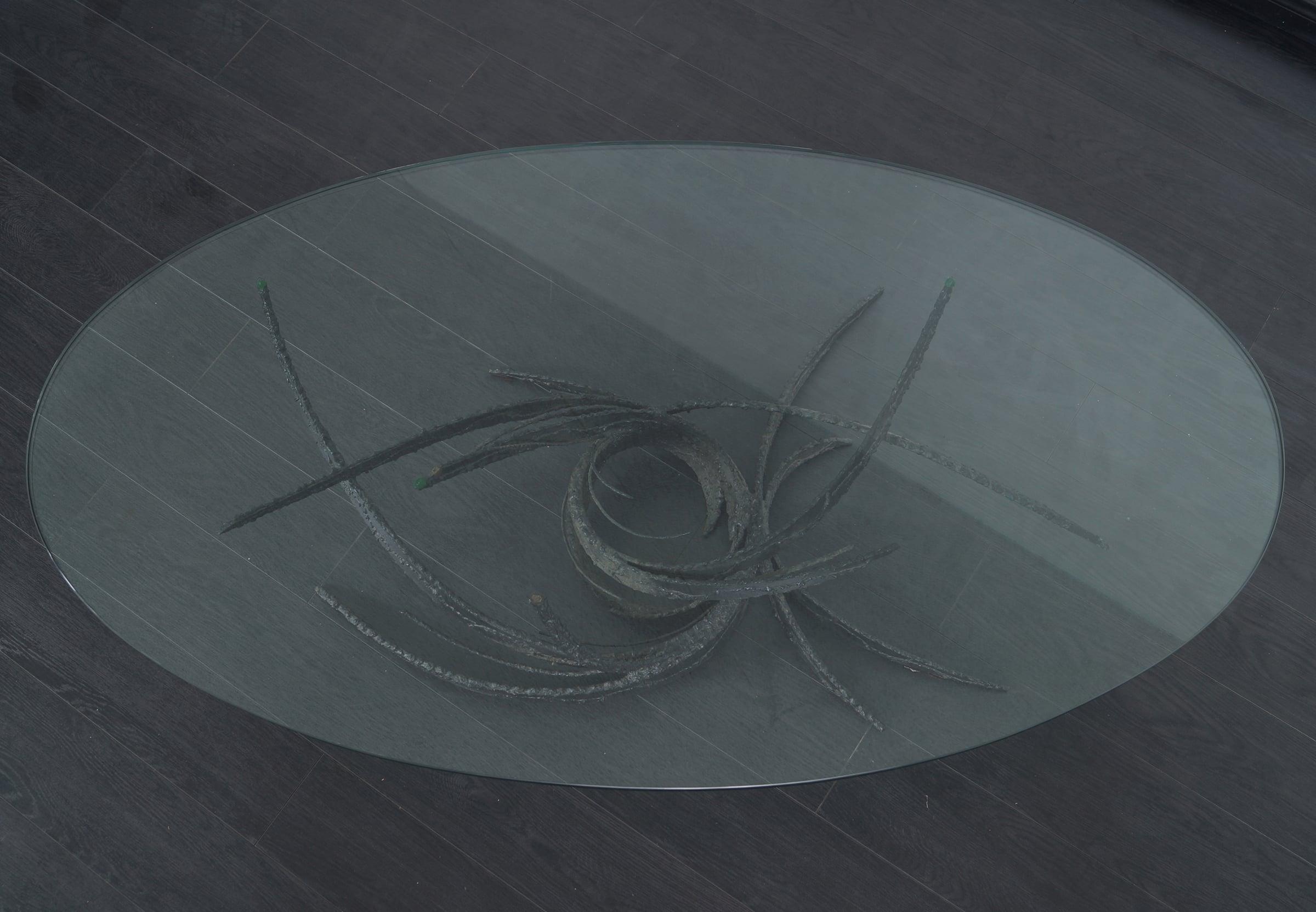 Vintage Swirl Glass Coffee Table by Daniel Gluck
