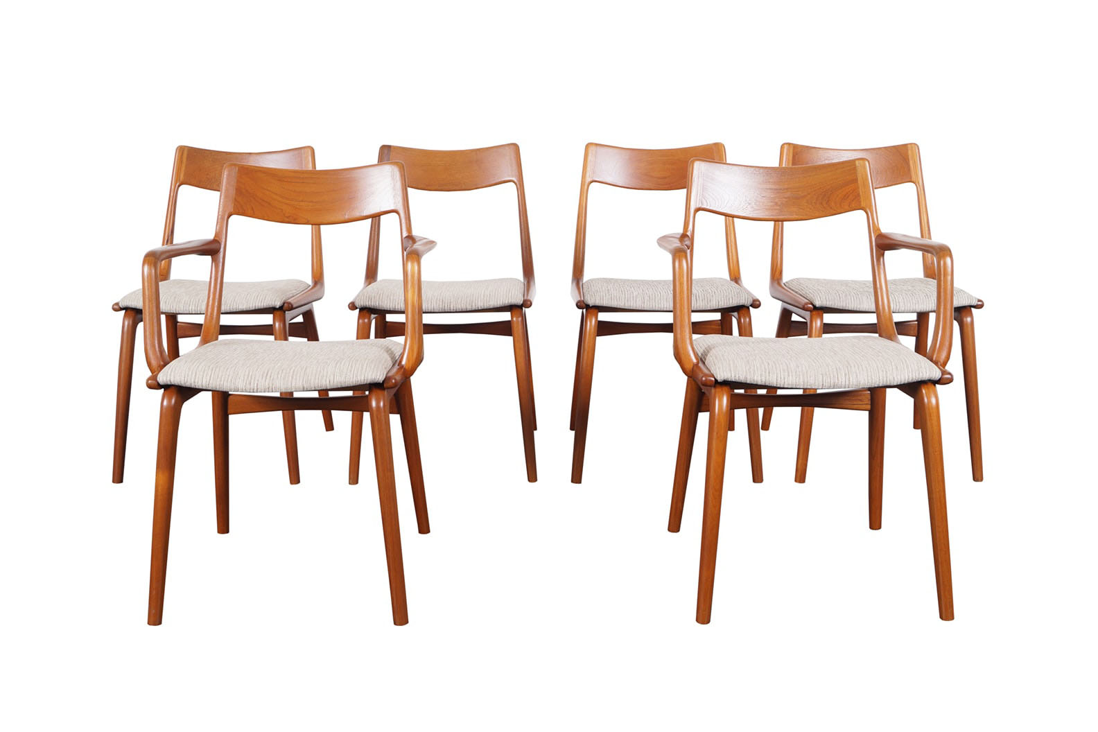 Danish Teak Boomerang Dining Chairs by Erik Christensen