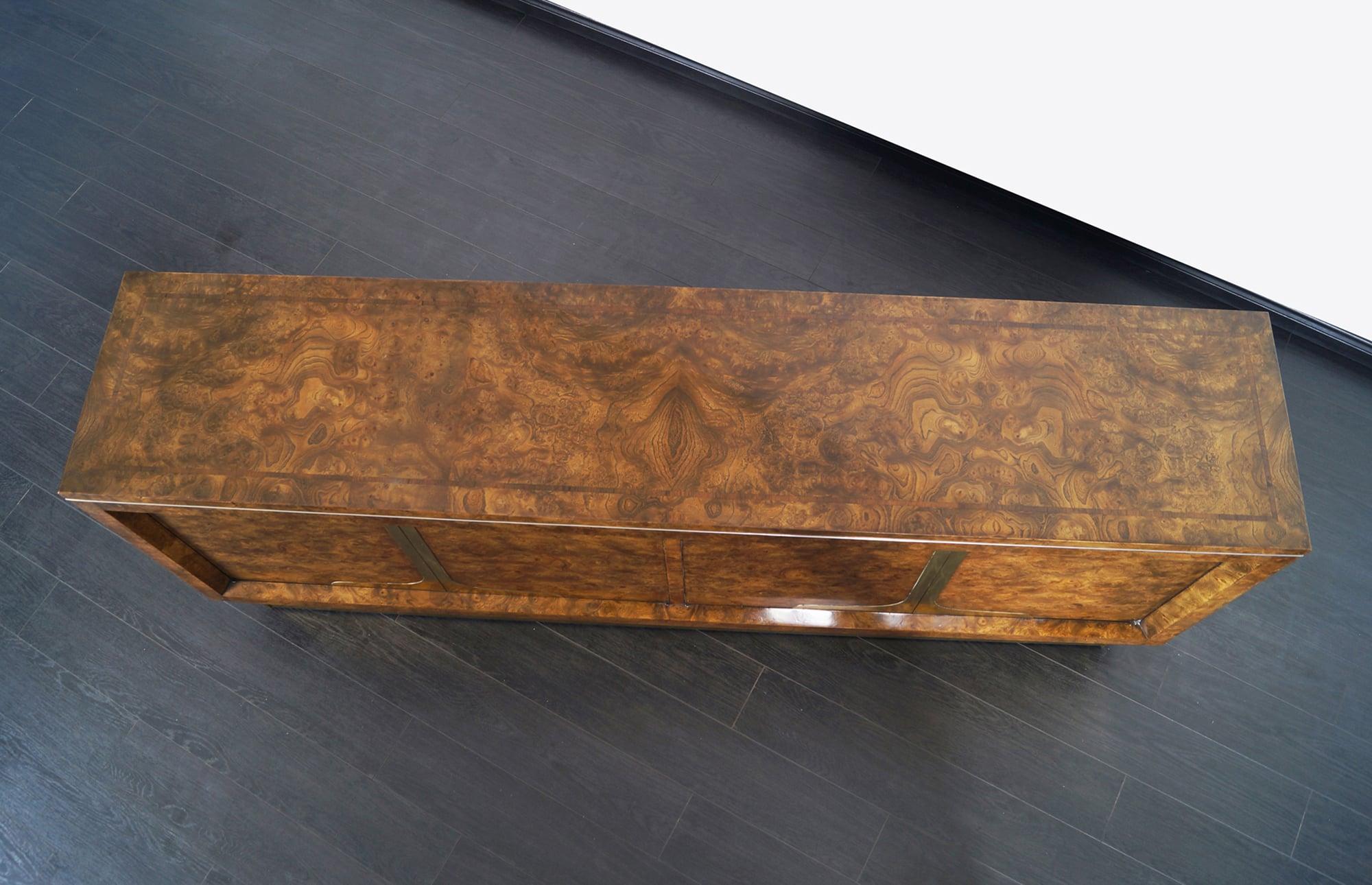 Vintage Burl Wood & Brass Credenza by Mastercraft