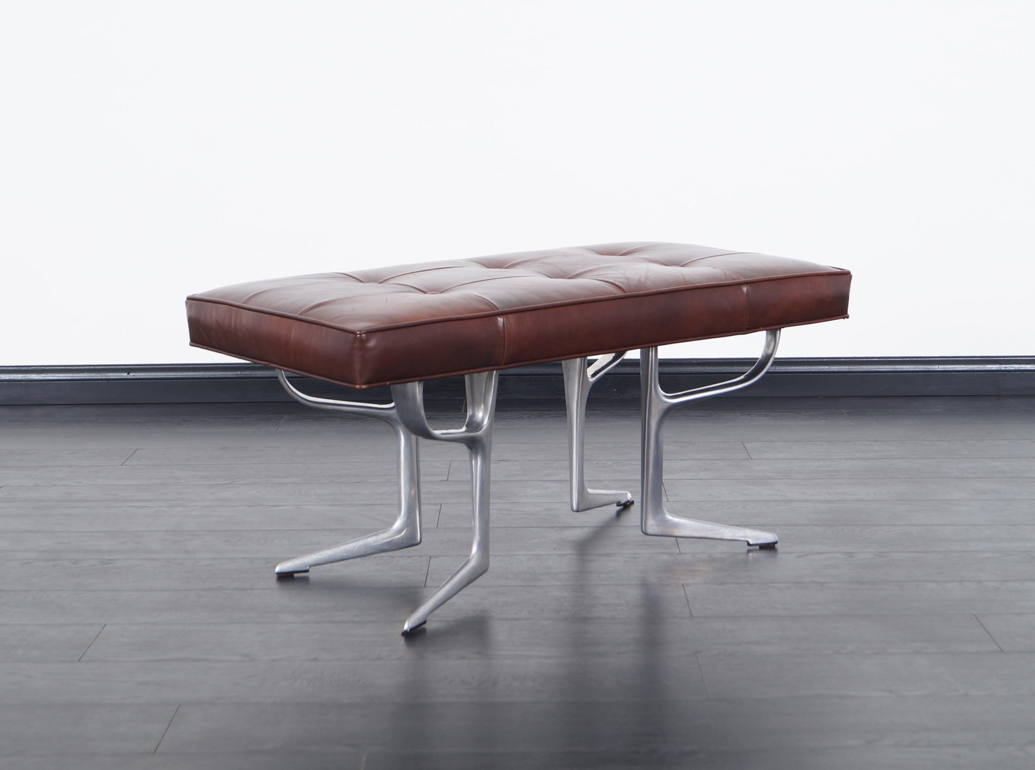 Vintage Sculptural Aluminum Bench