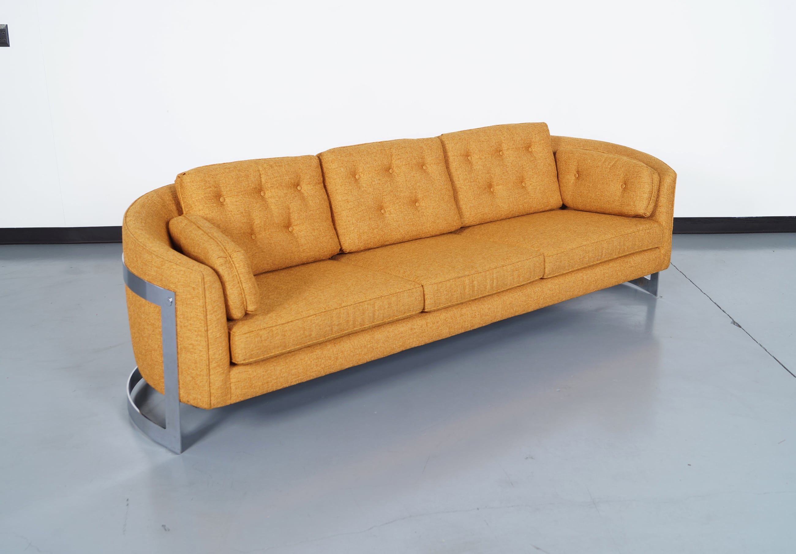 Vintage Floating Chrome Sofa by Milo Baughman