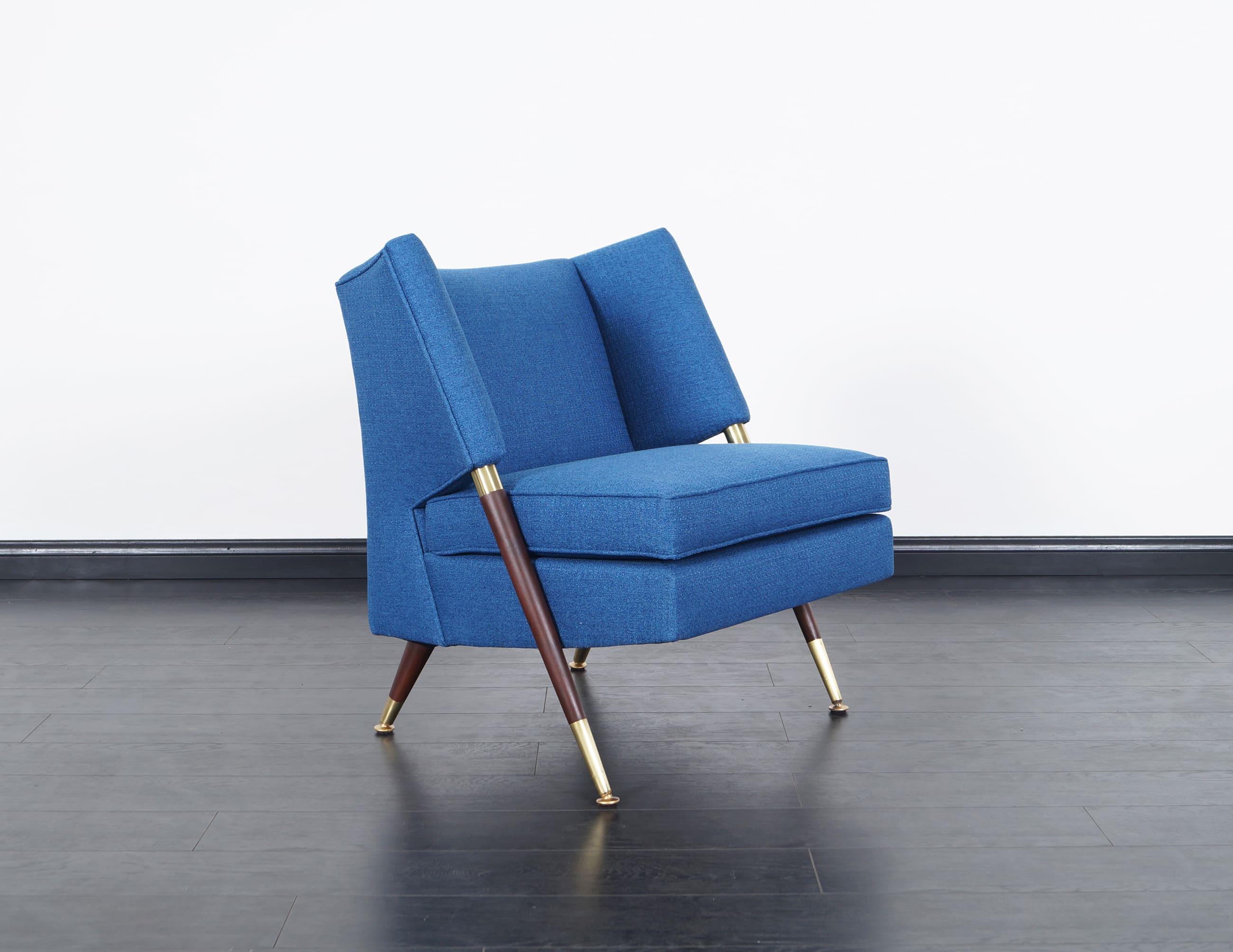 Modernist Walnut & Brass Lounge Chairs