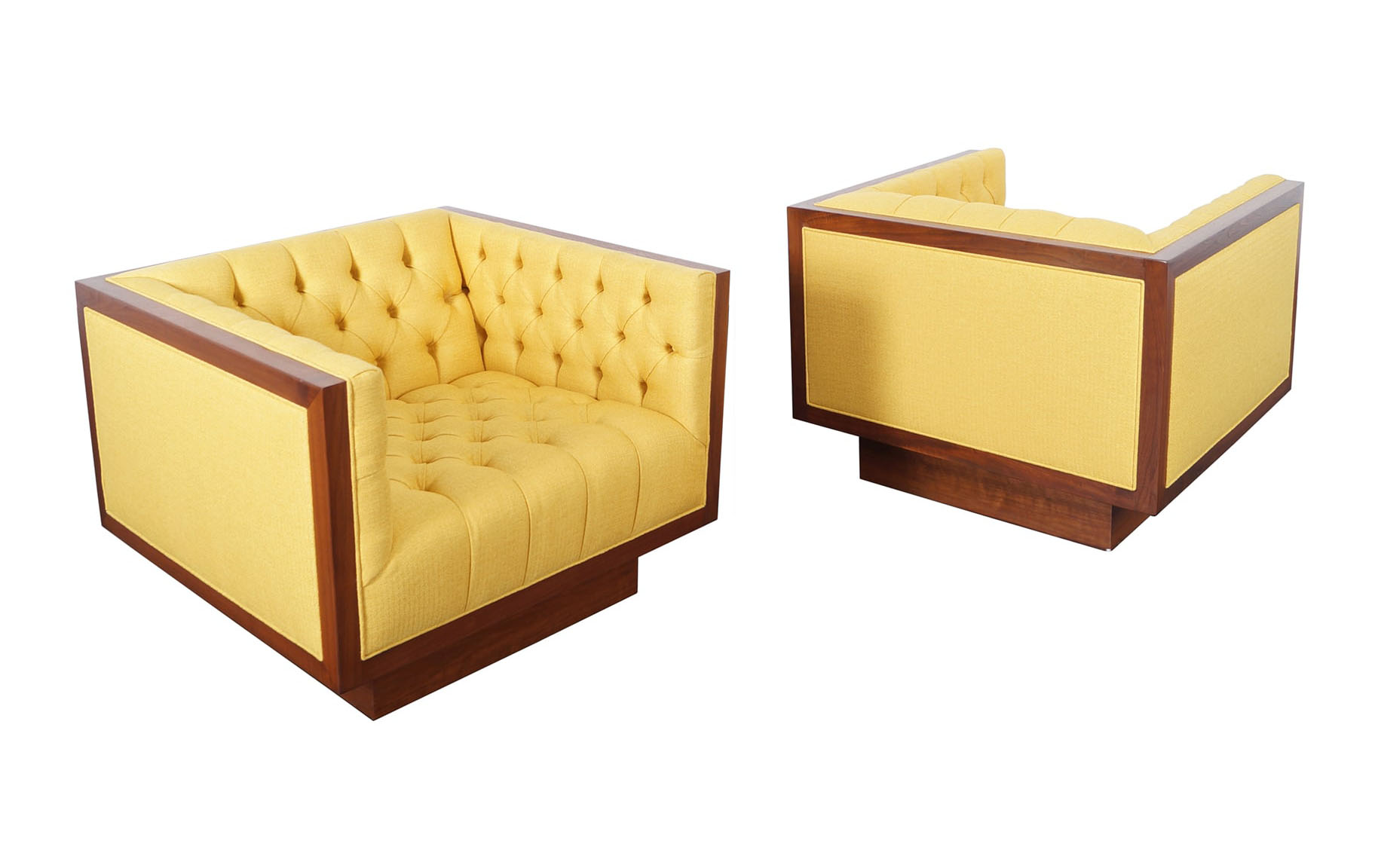 Vintage Tufted Lounge Chairs by Milo Baughman