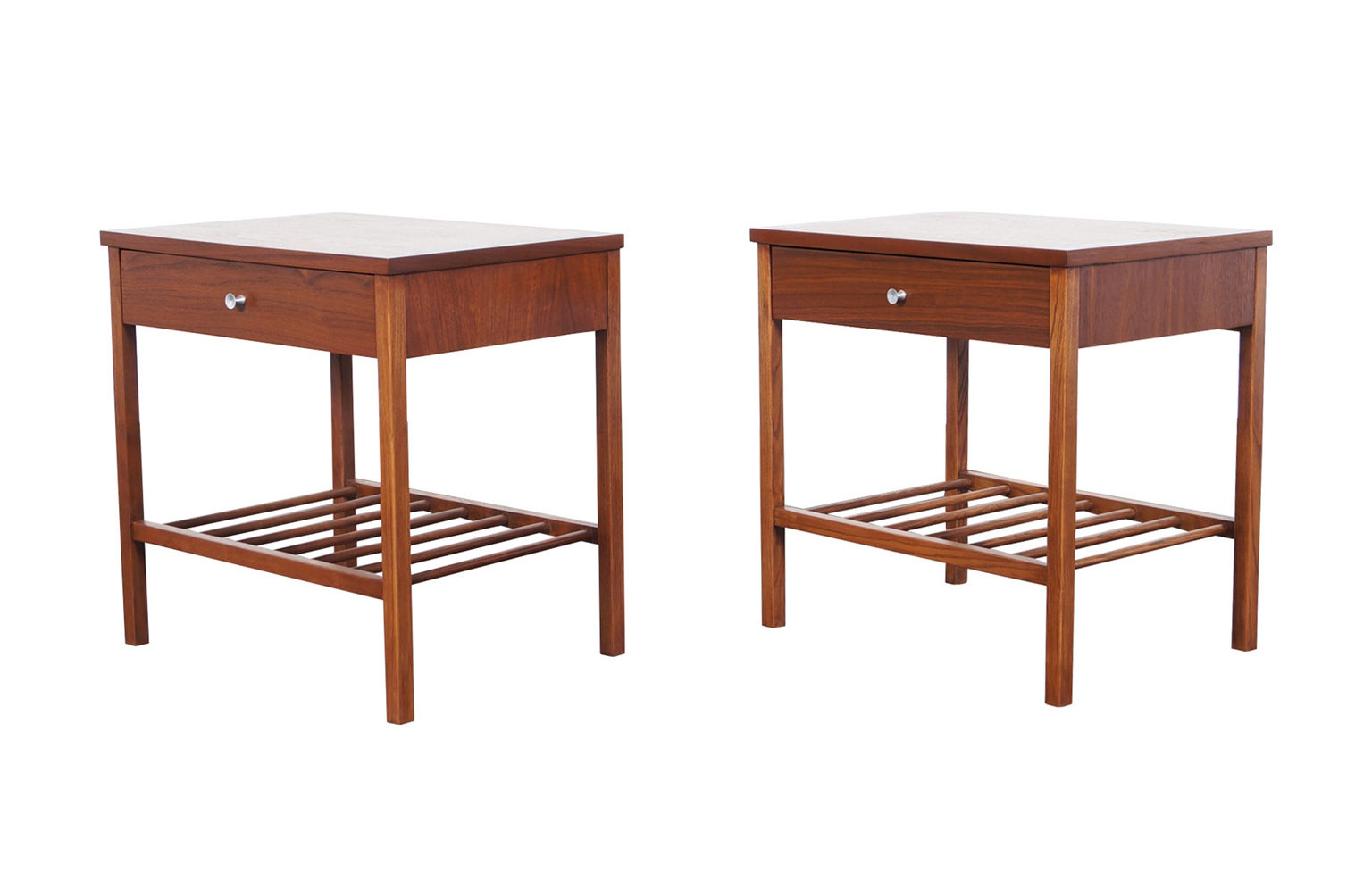 Vintage Walnut & Rosewood Nightstands by Stanley