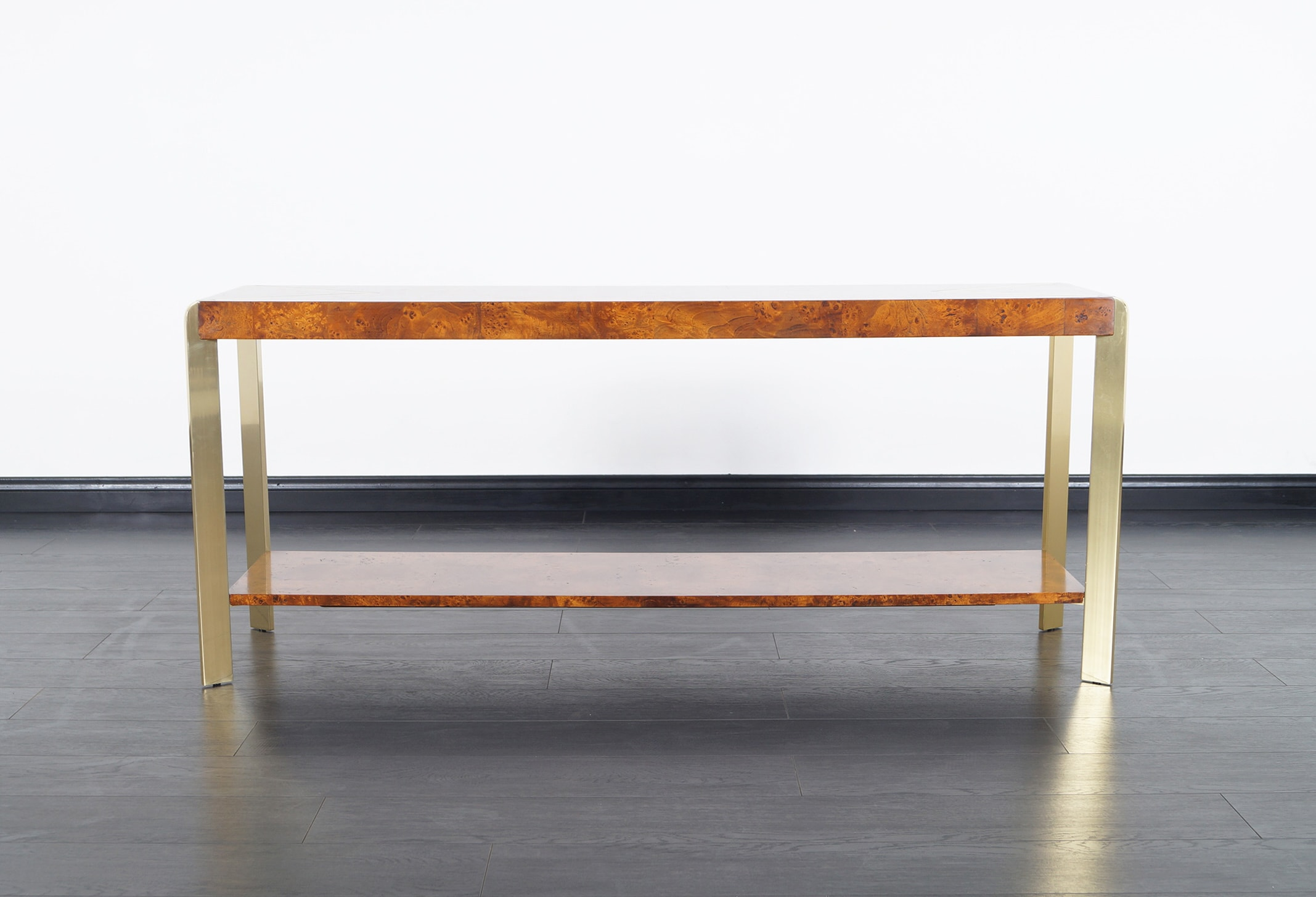 Vintage Burl Wood Console Table