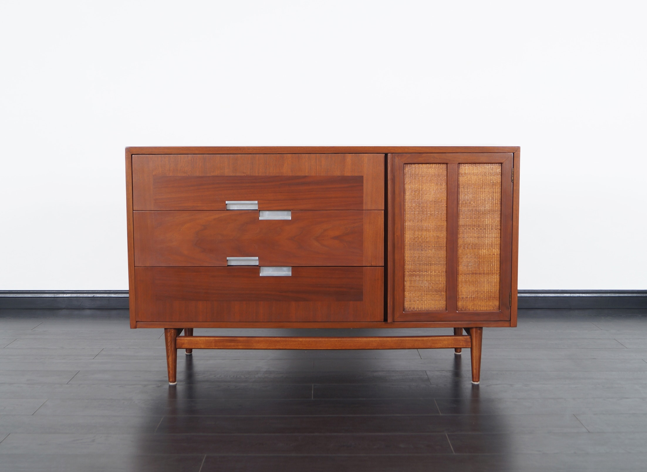 Vintage Walnut & Cane Credenza by American of Martinsville