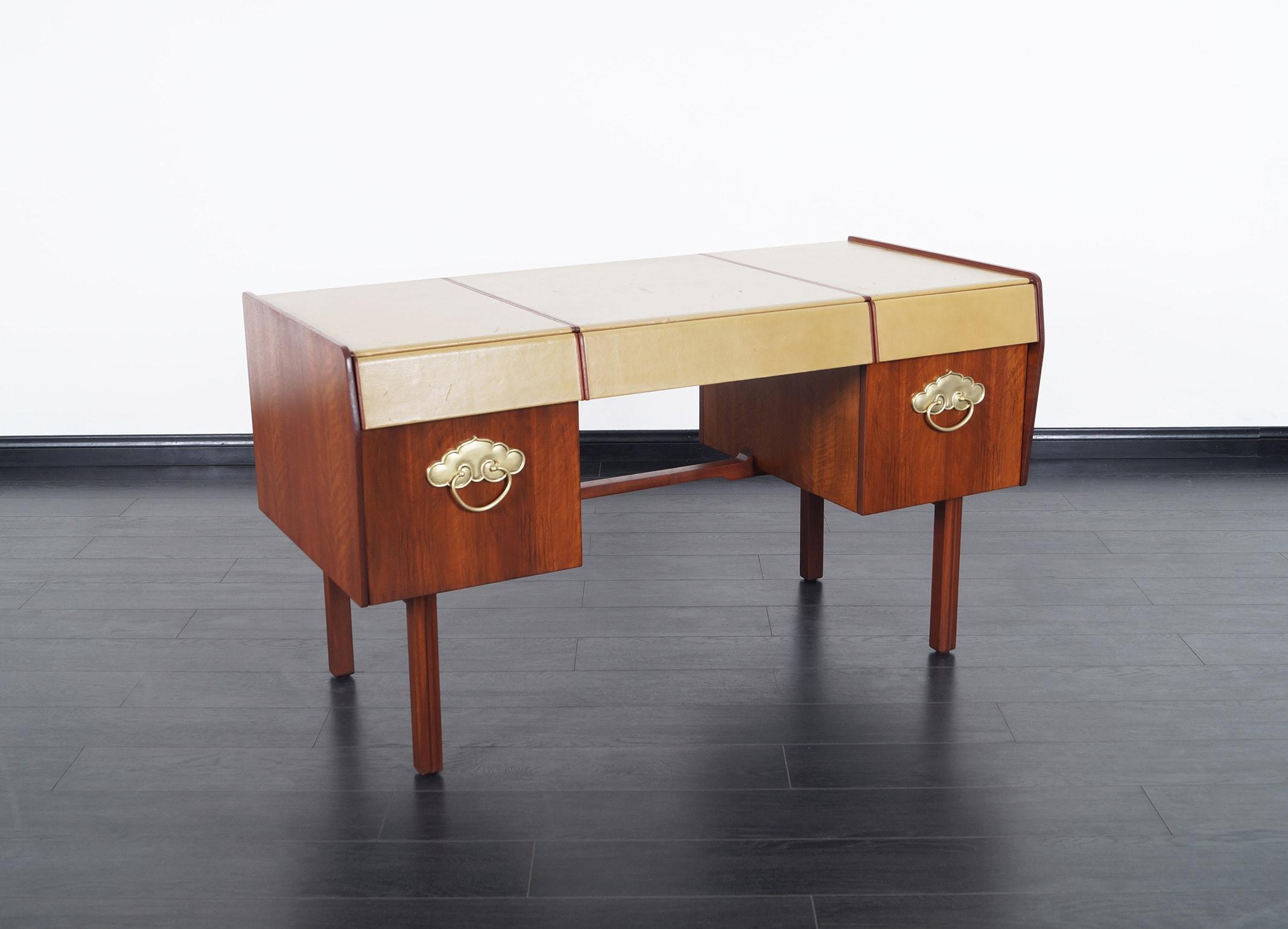 Vintage Leather Top Desk by John Widdicomb