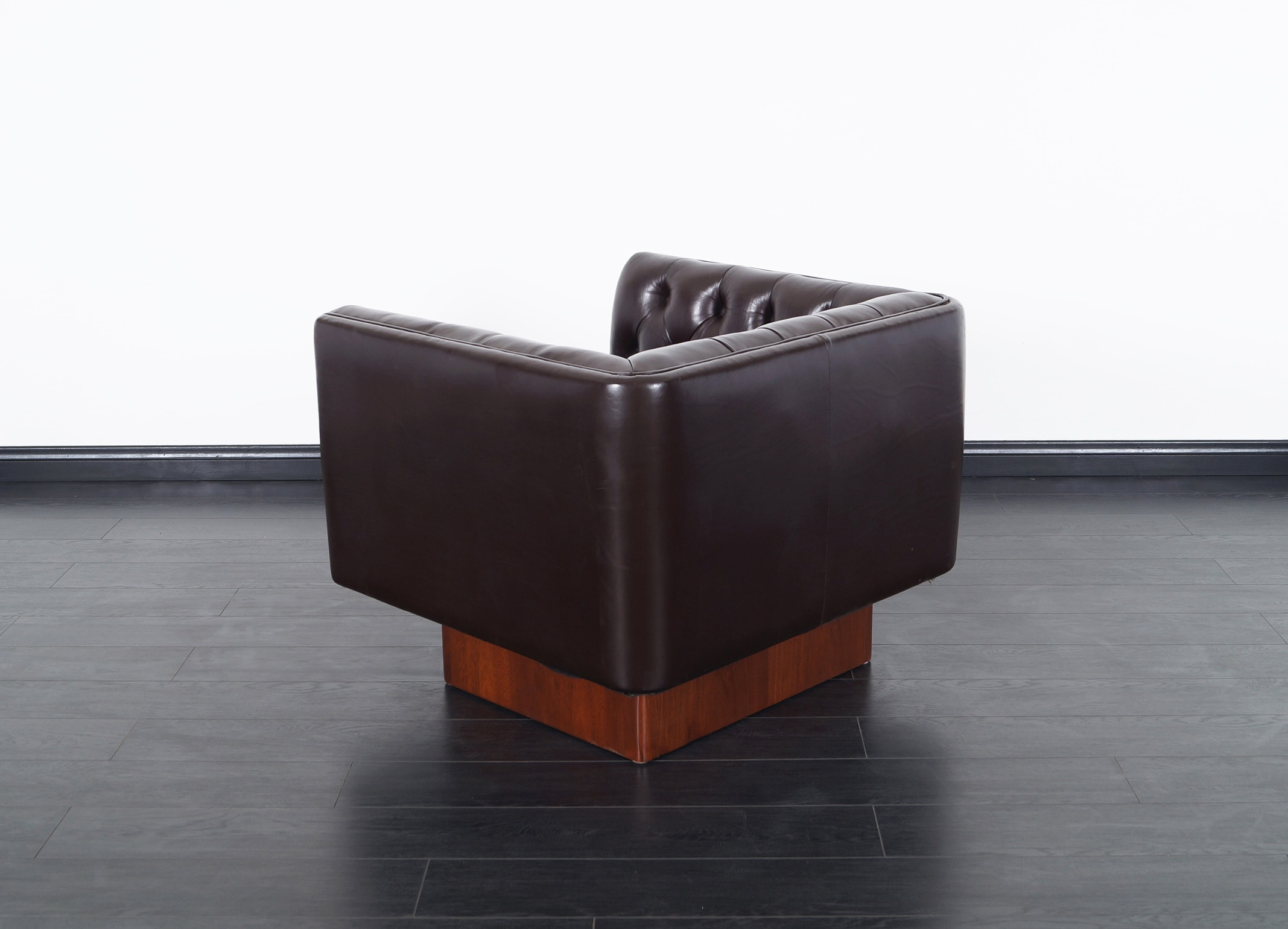 Vintage Tufted Leather Lounge Chairs by Milo Baughman