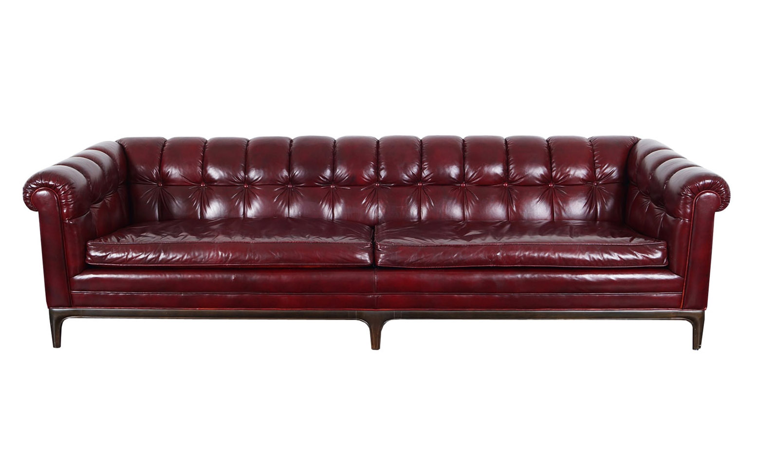 Vintage Biscuit Tufted Leather Sofa by Monteverdi Young