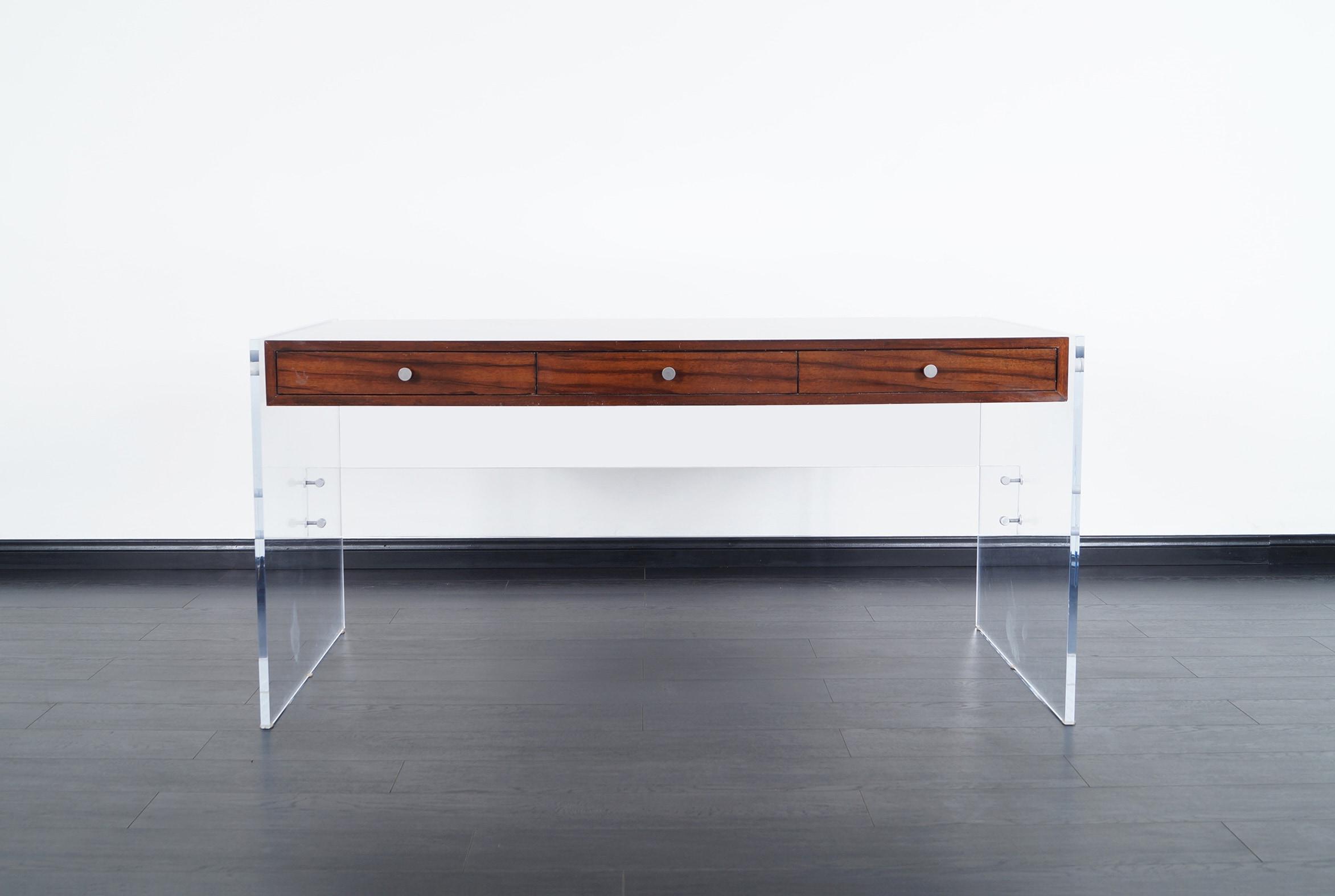 Modernist Lucite Desk by Helen Aumont