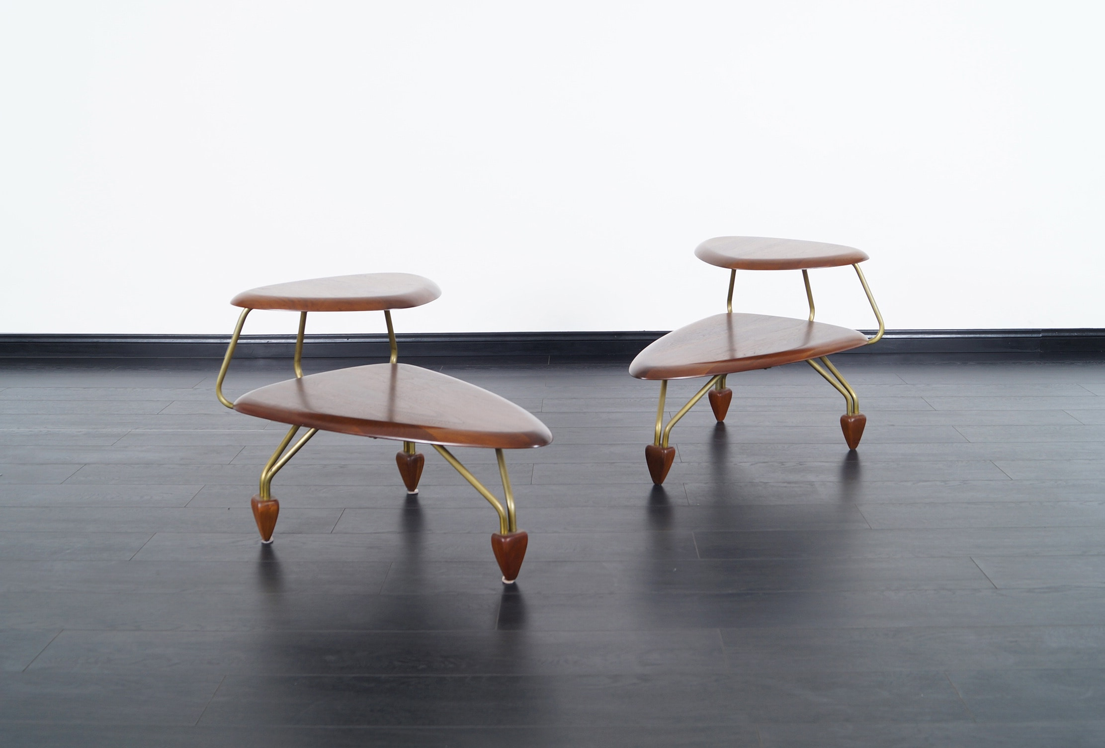 Vintage Walnut Side Tables by John Keal