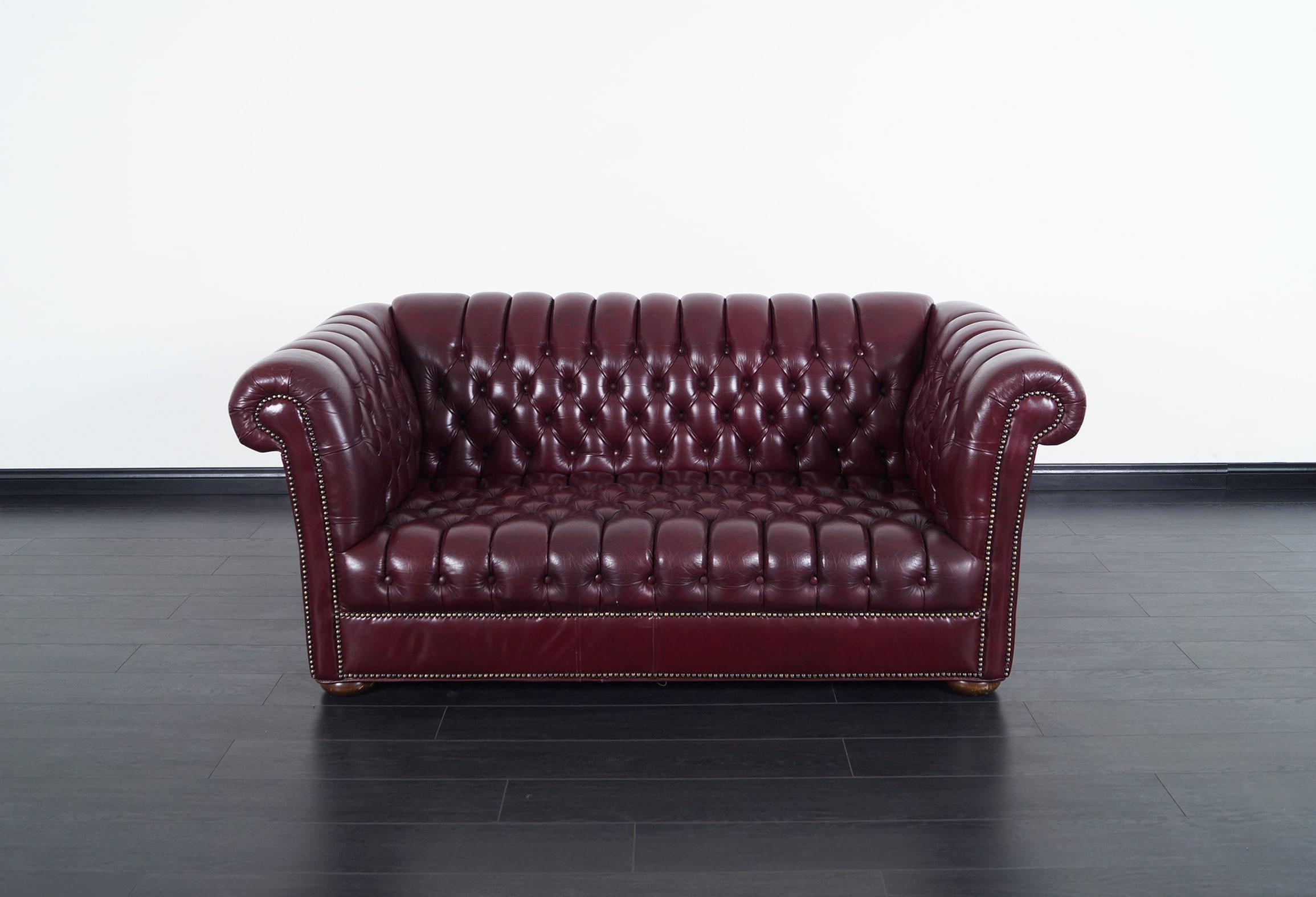 Vintage Burgundy Leather Chesterfield Loveseat