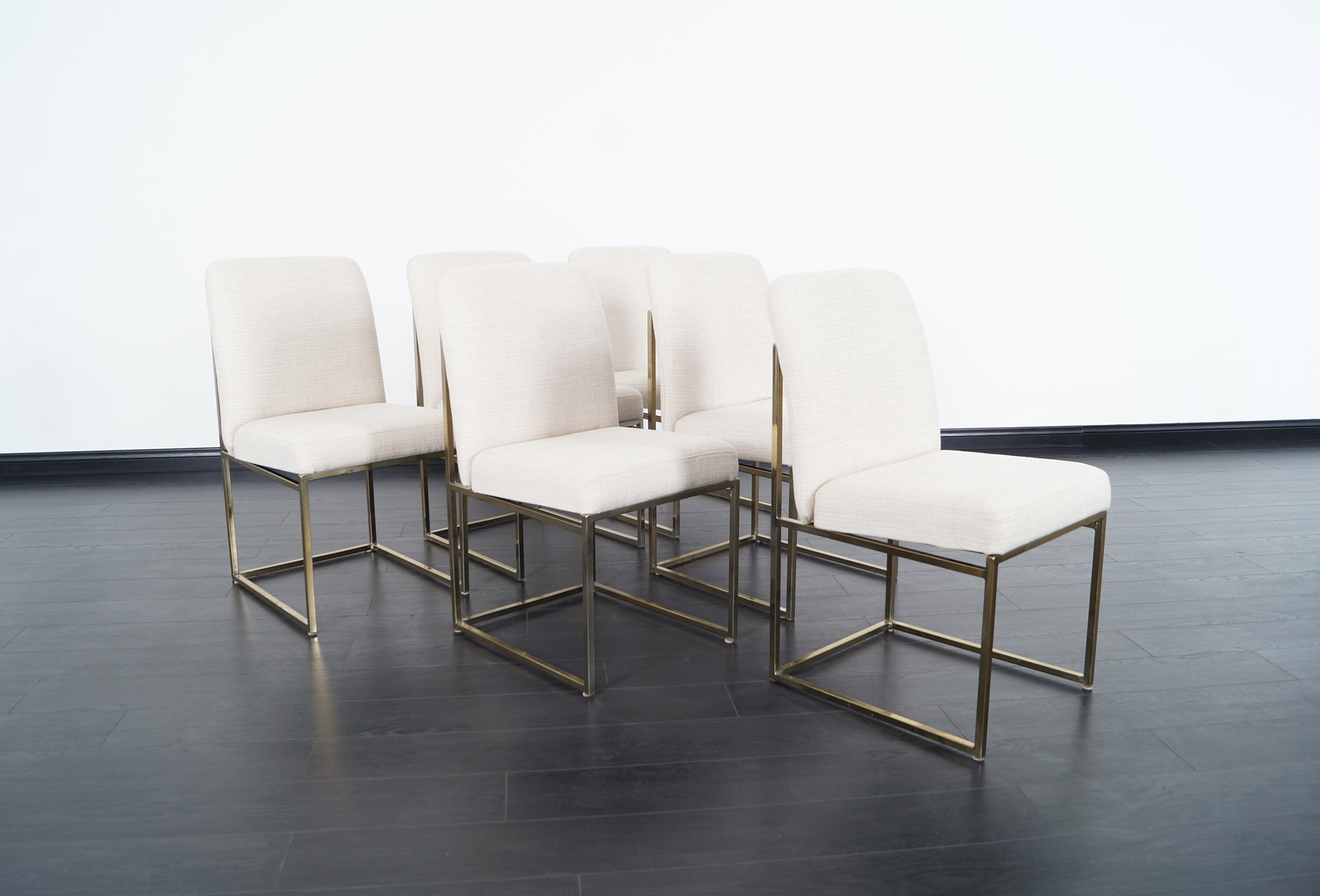 Vintage Brass Dining Chairs by Milo Baughman