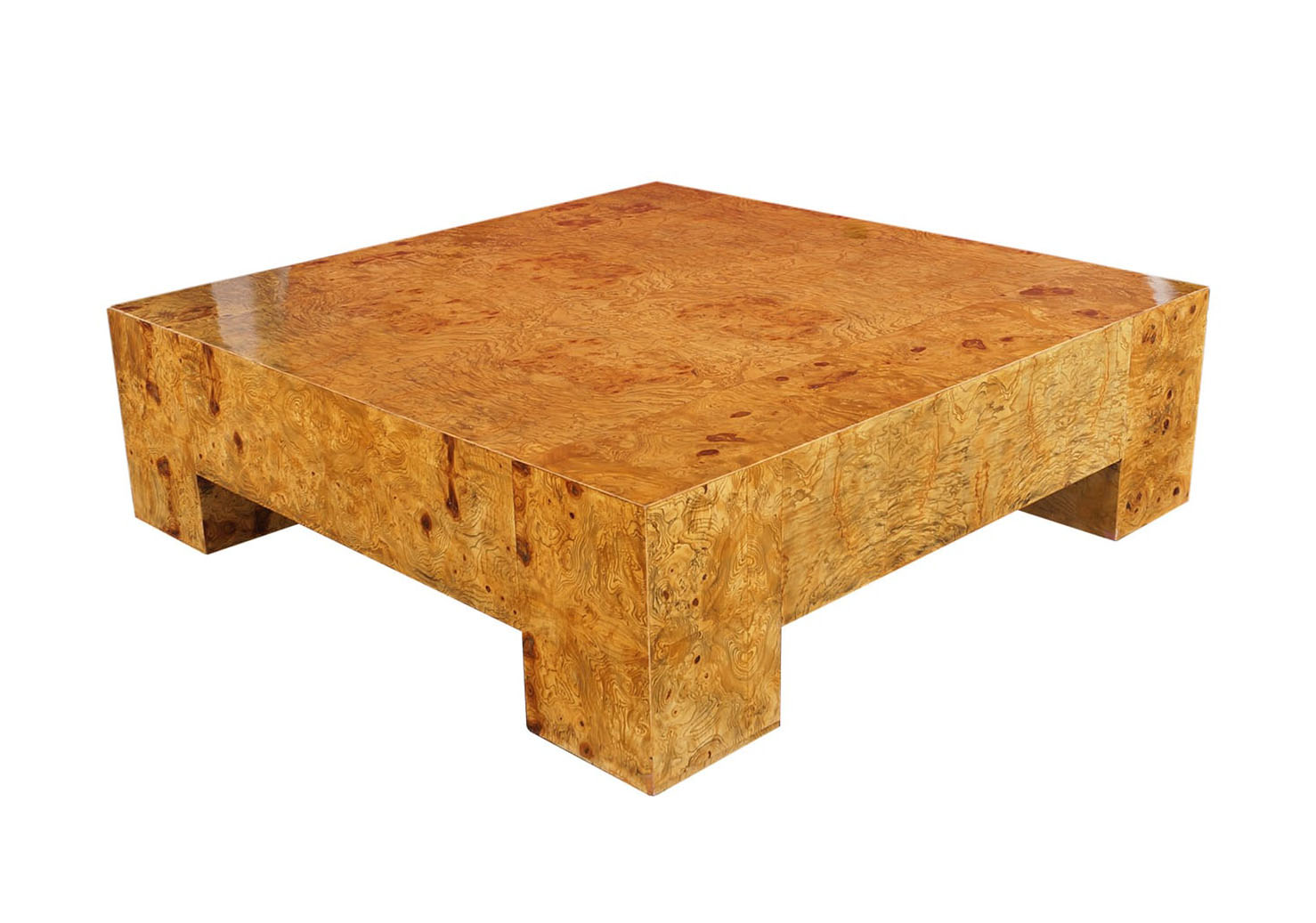 Vintage Burl Wood Coffee Table by Milo Baughman