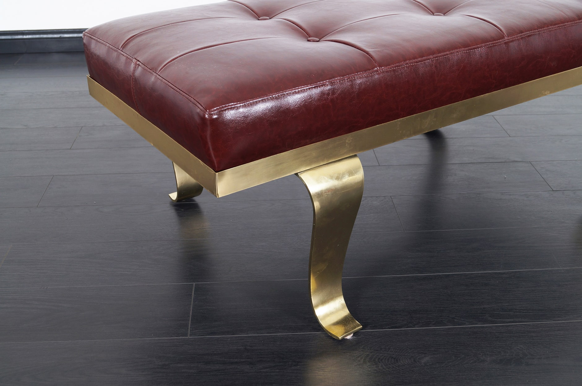 Modernist Brass & Leather Bench Attributed to Arturo Pani