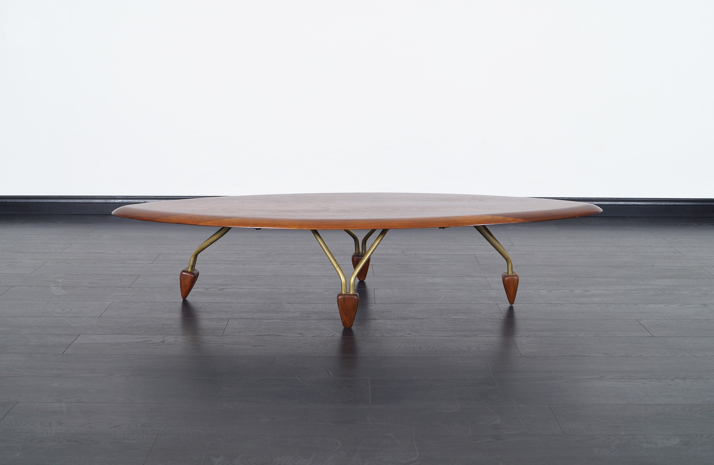 Vintage Walnut Surfboard Coffee Table by John Keal