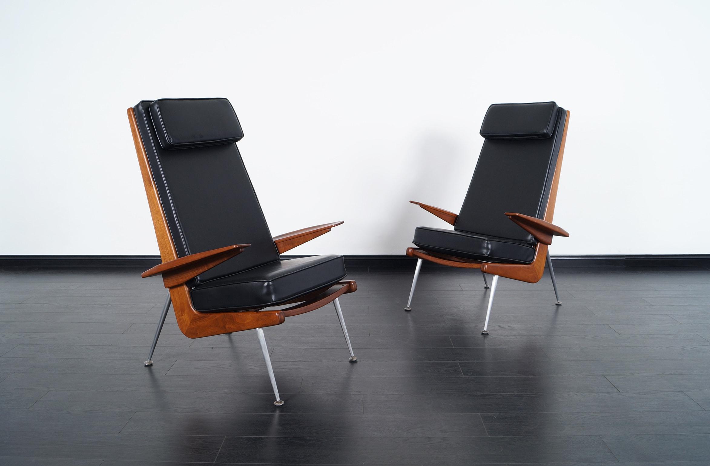 Mid Century Modern Walnut High Back Chairs