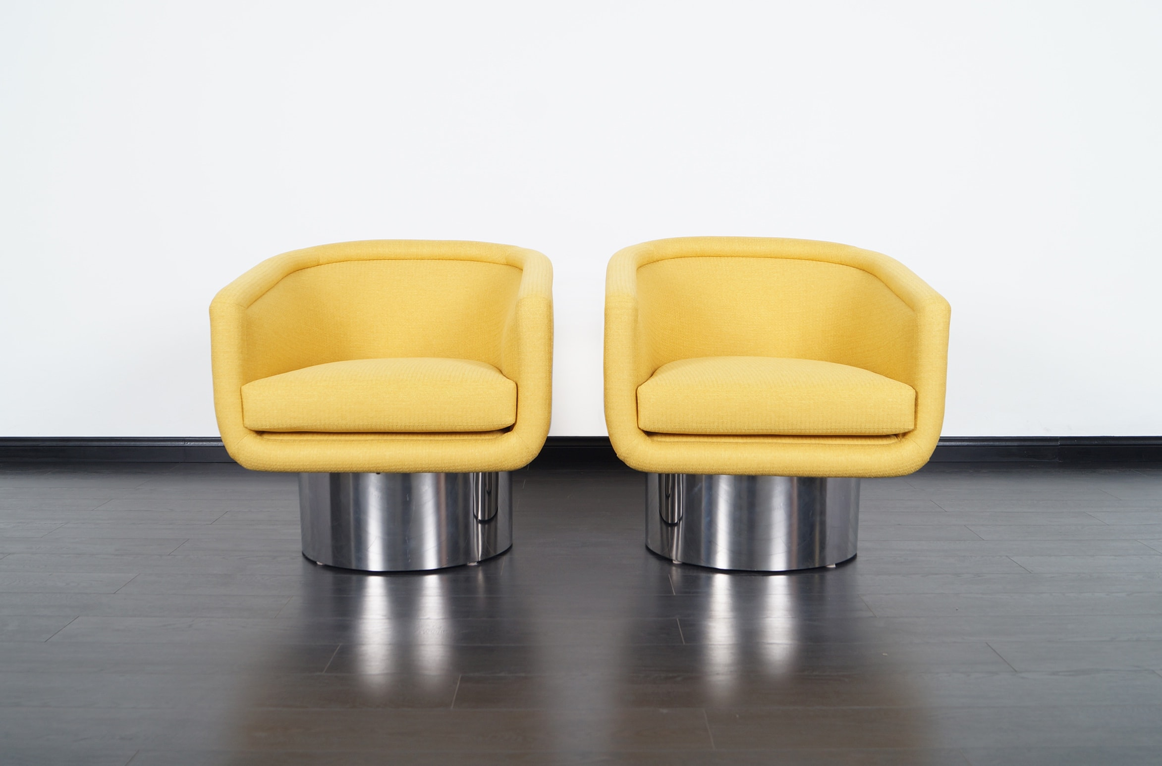 Vintage Chrome Swivel Lounge Chairs by Leon Rosen