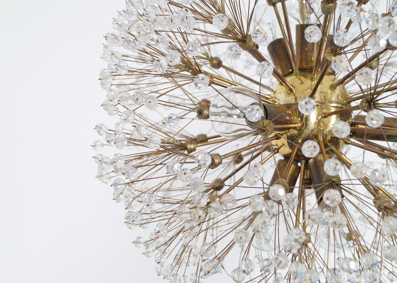 Vintage Brass Snowball Sputnik Chandelier