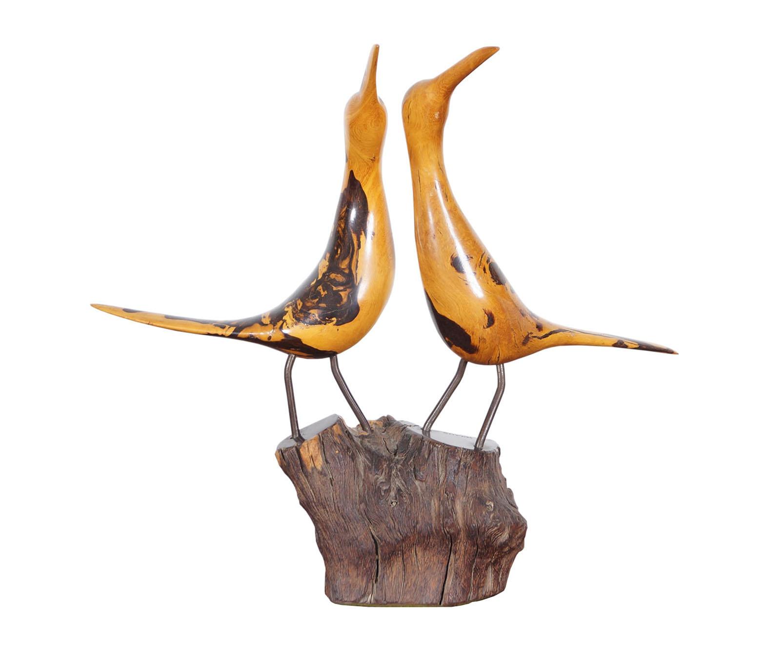 Vintage Hand Carved Burl Seagull Sculpture