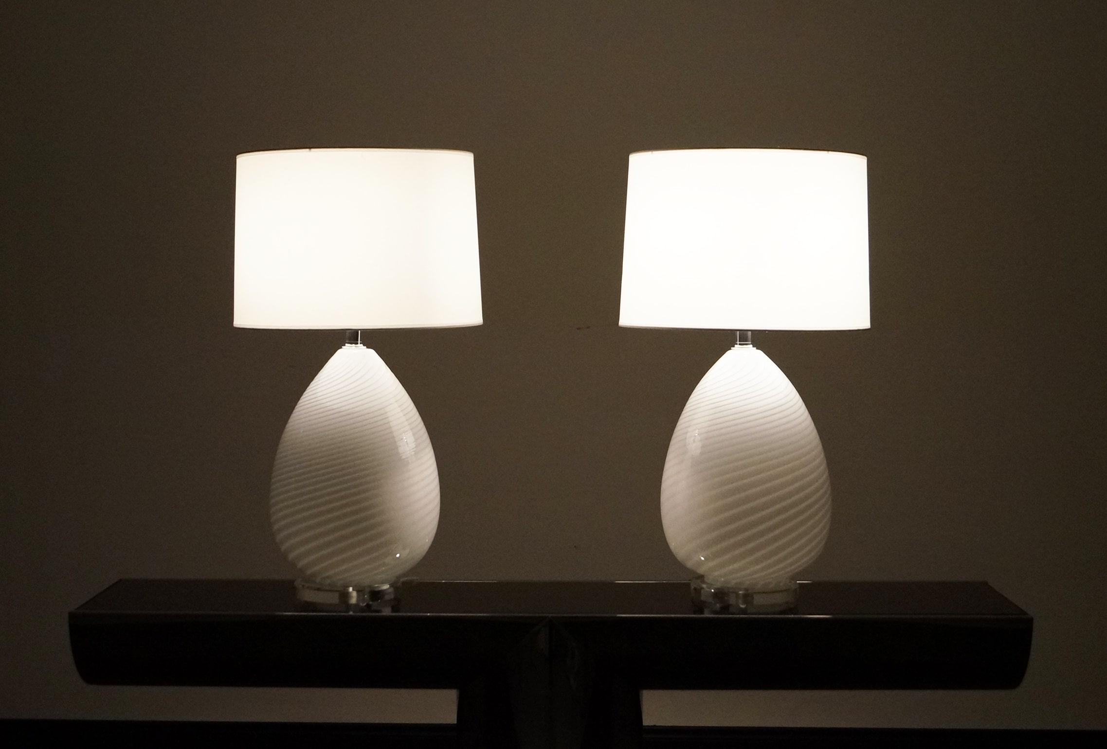 Vintage Murano Glass Egg Lamps by Vetri Murano