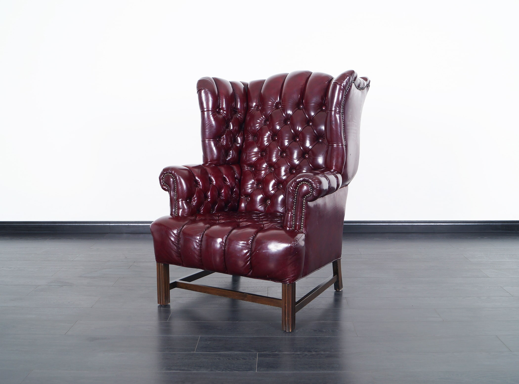 Vintage Leather Tufted Wingback Chairs