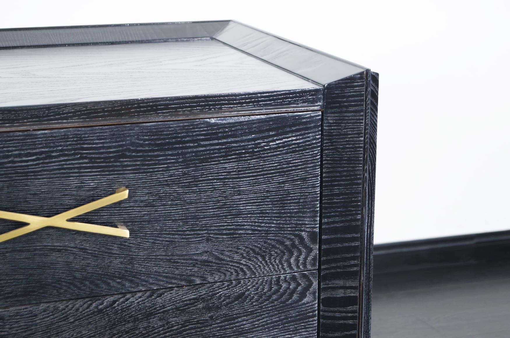 Vintage Cerused & Brass Dresser