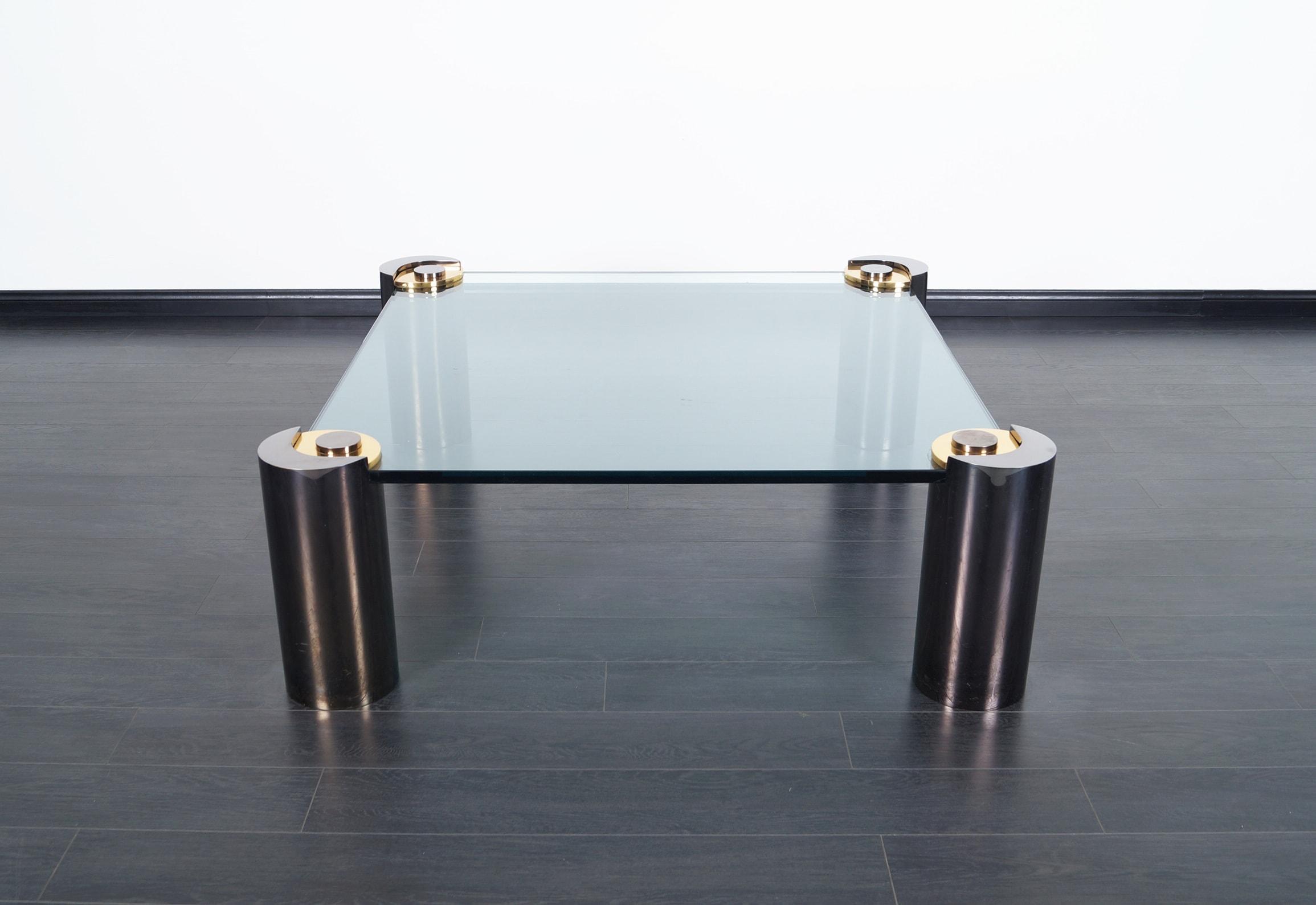 Rare Vintage Gunmetal Coffee Table by Karl Springer